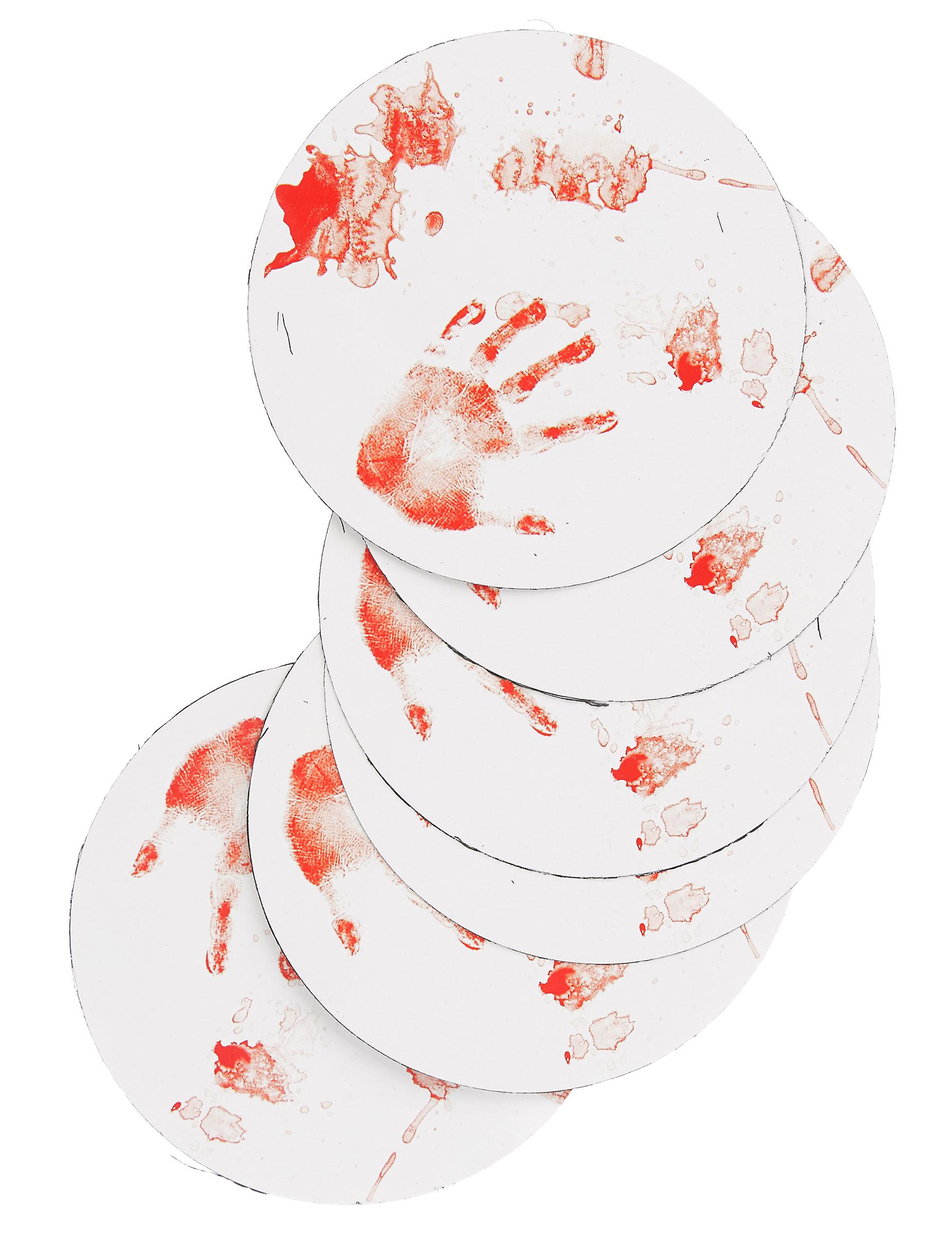 halloween untersetzer blutige tischdeko 6 st ck rot weiss. Black Bedroom Furniture Sets. Home Design Ideas