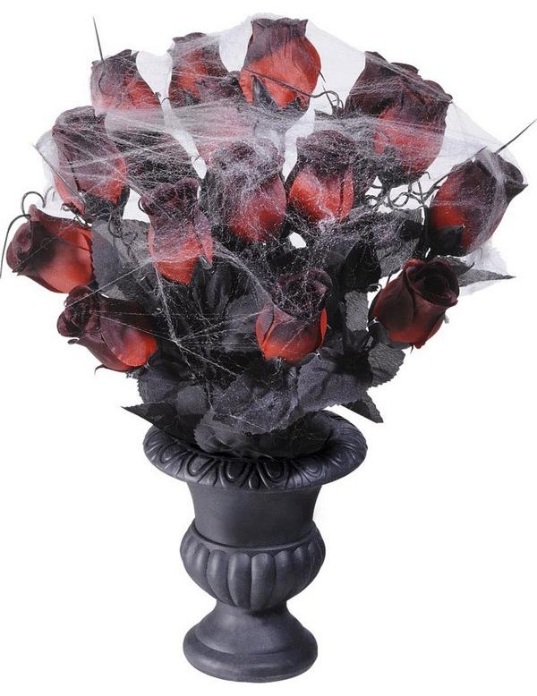 rote rosen mit spinnweben in vase halloween deko rot schwarz grau 35cm g nstige faschings. Black Bedroom Furniture Sets. Home Design Ideas