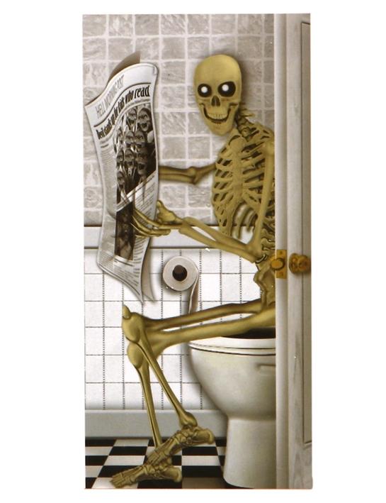 Halloween t rposter skelett auf wc party deko bunt for Wc deko