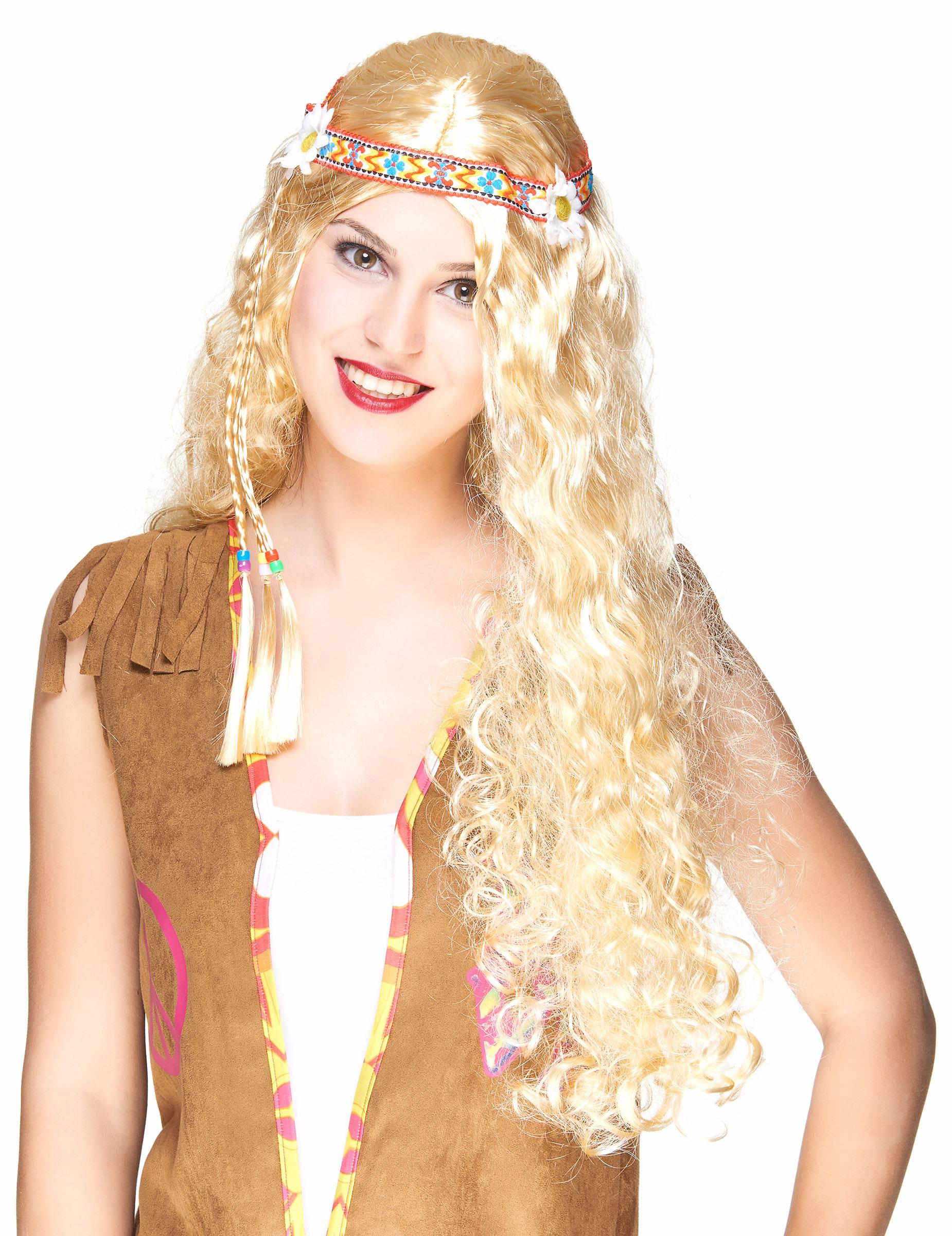 Lange Hippie Damen Perucke Locken Blond