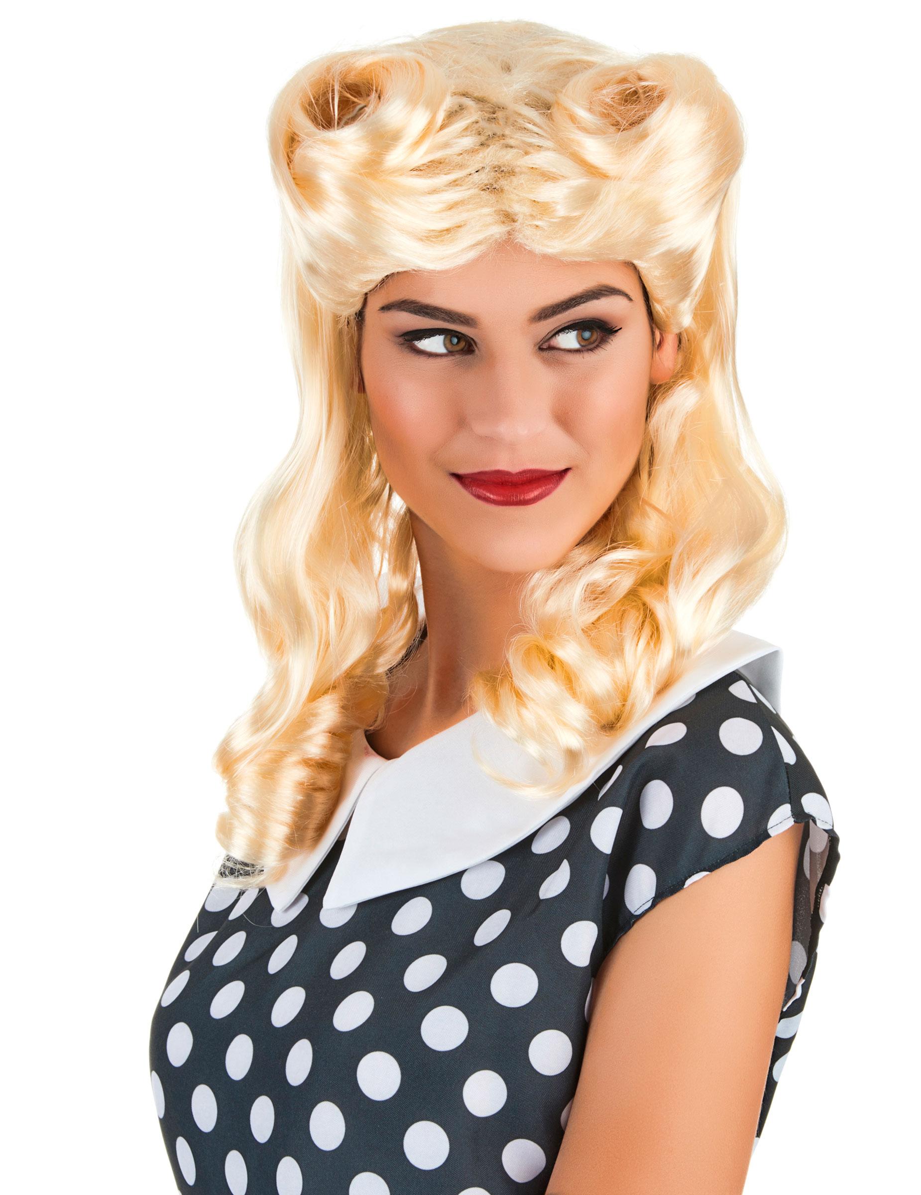 retro locken per cke 50er jahre blond g nstige faschings accessoires zubeh r bei karneval. Black Bedroom Furniture Sets. Home Design Ideas