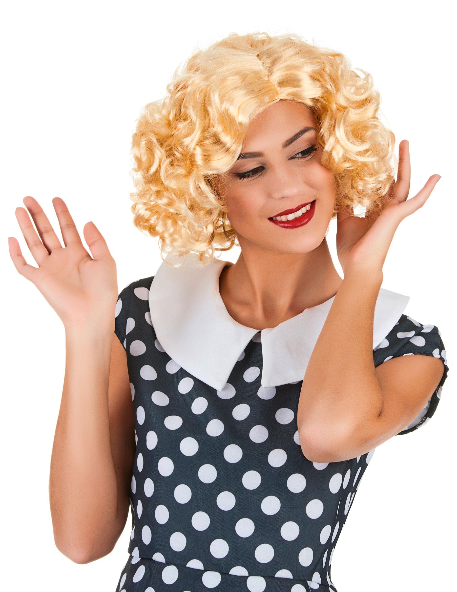 s e lockenper cke 50er jahre blond g nstige faschings accessoires zubeh r bei karneval. Black Bedroom Furniture Sets. Home Design Ideas