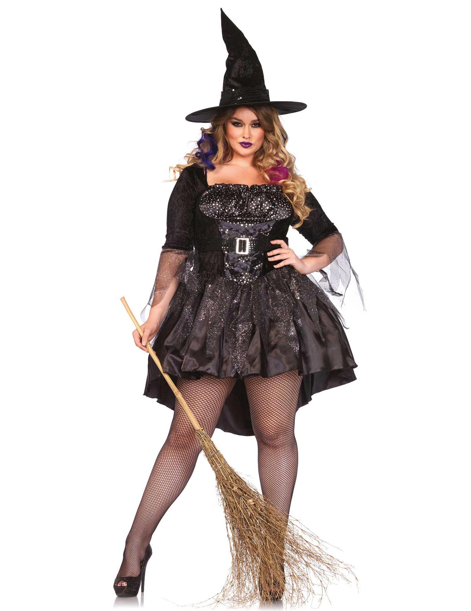 Heisse Hexe Zauberin Halloween Damenkostum Plus Size Schwarz