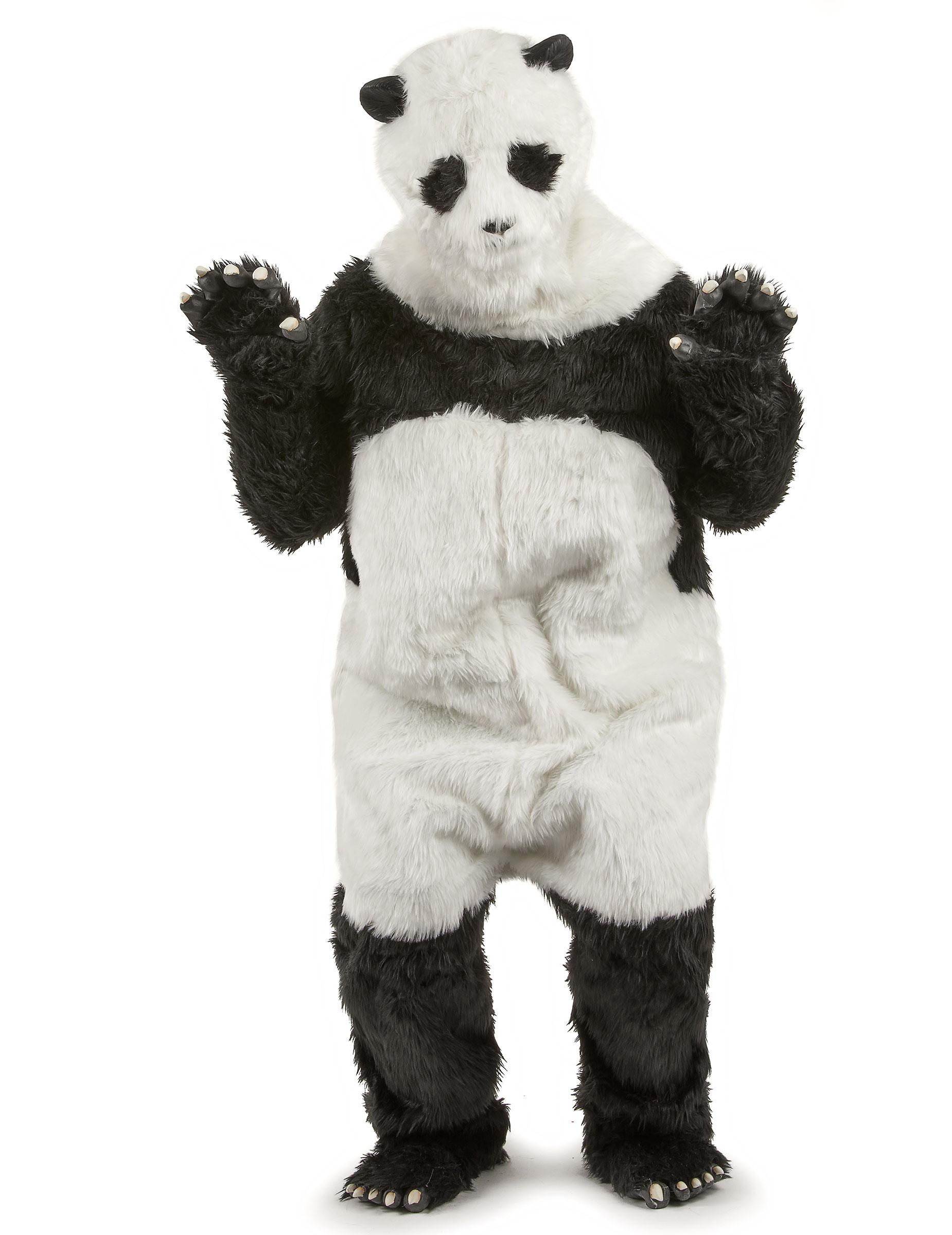 panda kostum overall schwarz weiss
