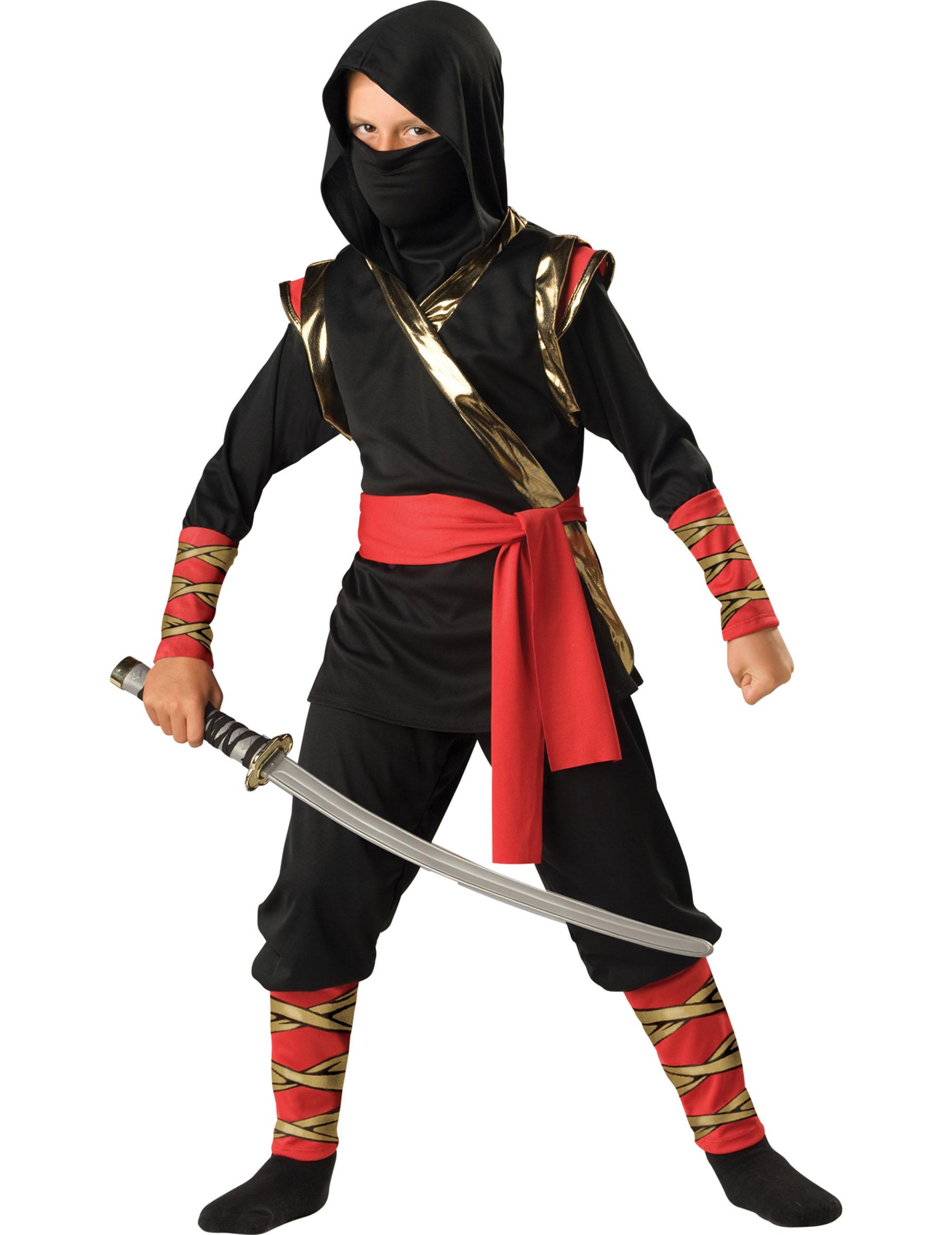 Kostüm Ninja Premium Für Kinder Schwarz Rot Gold Günstige