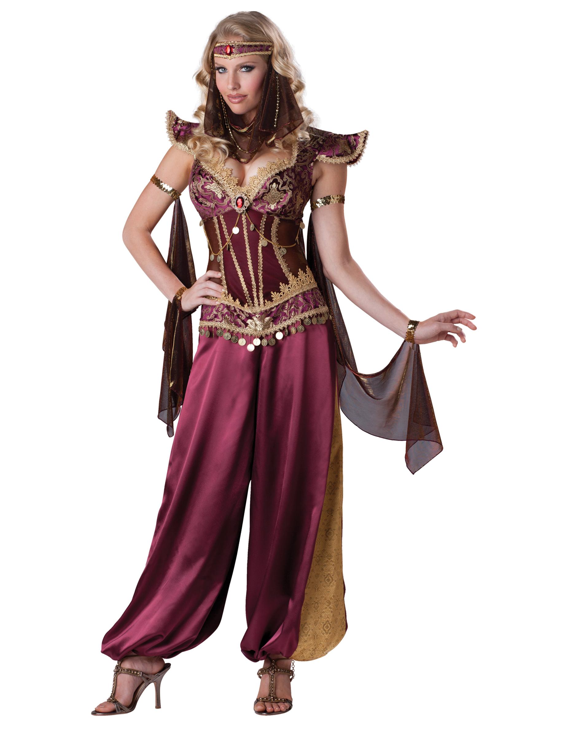 Orientalische Prinzessin Deluxe Damenkostum Harem Bordeaux Gold