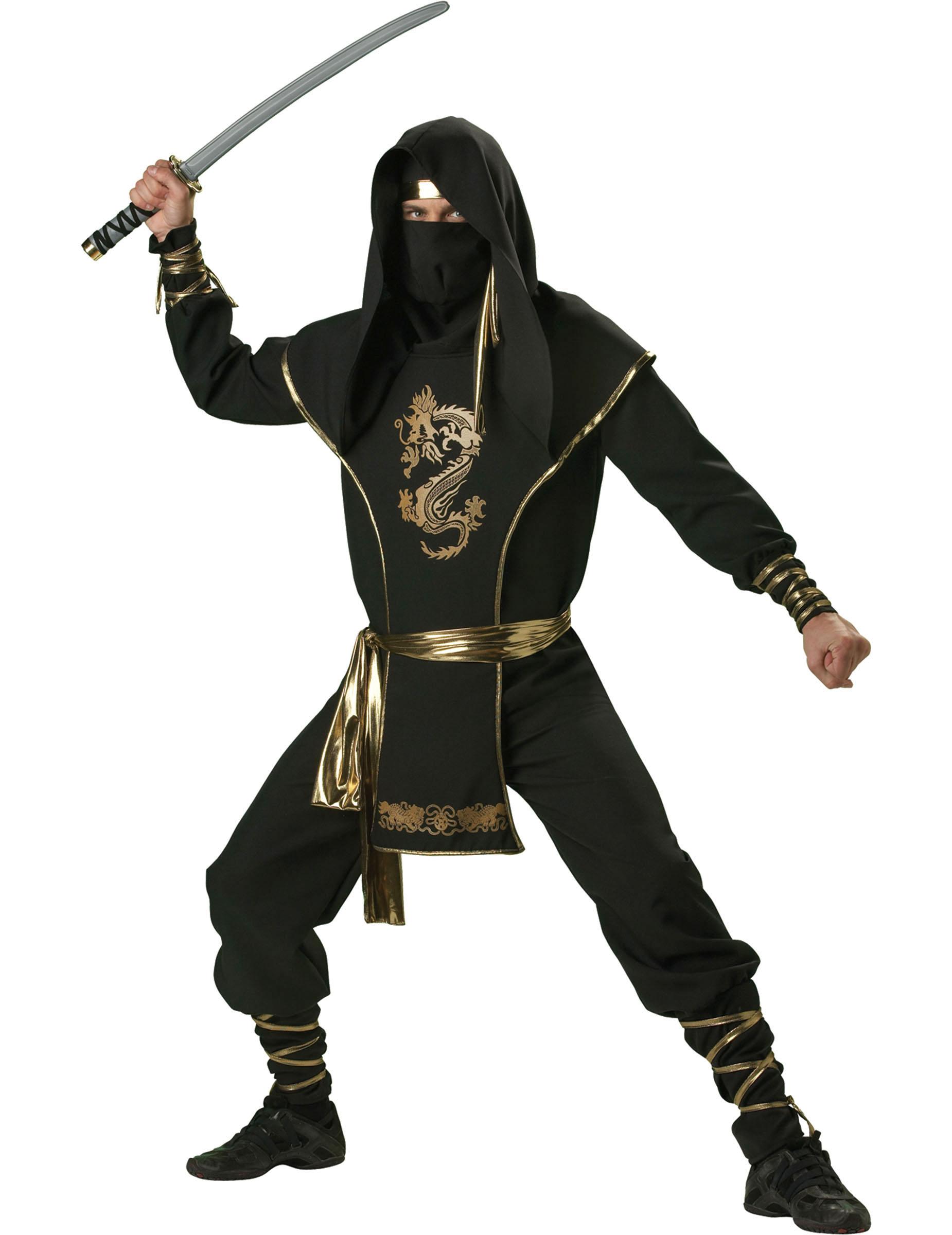 ninja k mpfer kost m schwarz gold g nstige faschings kost me bei karneval megastore. Black Bedroom Furniture Sets. Home Design Ideas