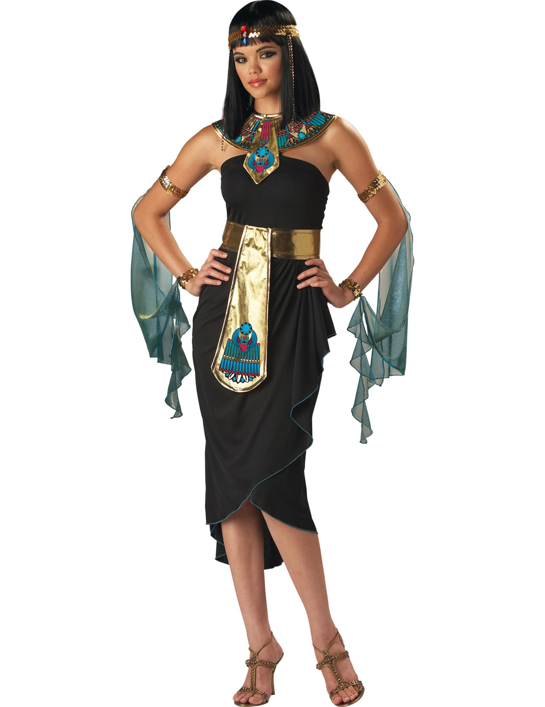 Kleopatra Damenkostum Agypten Schwarz Bunt Gunstige Faschings