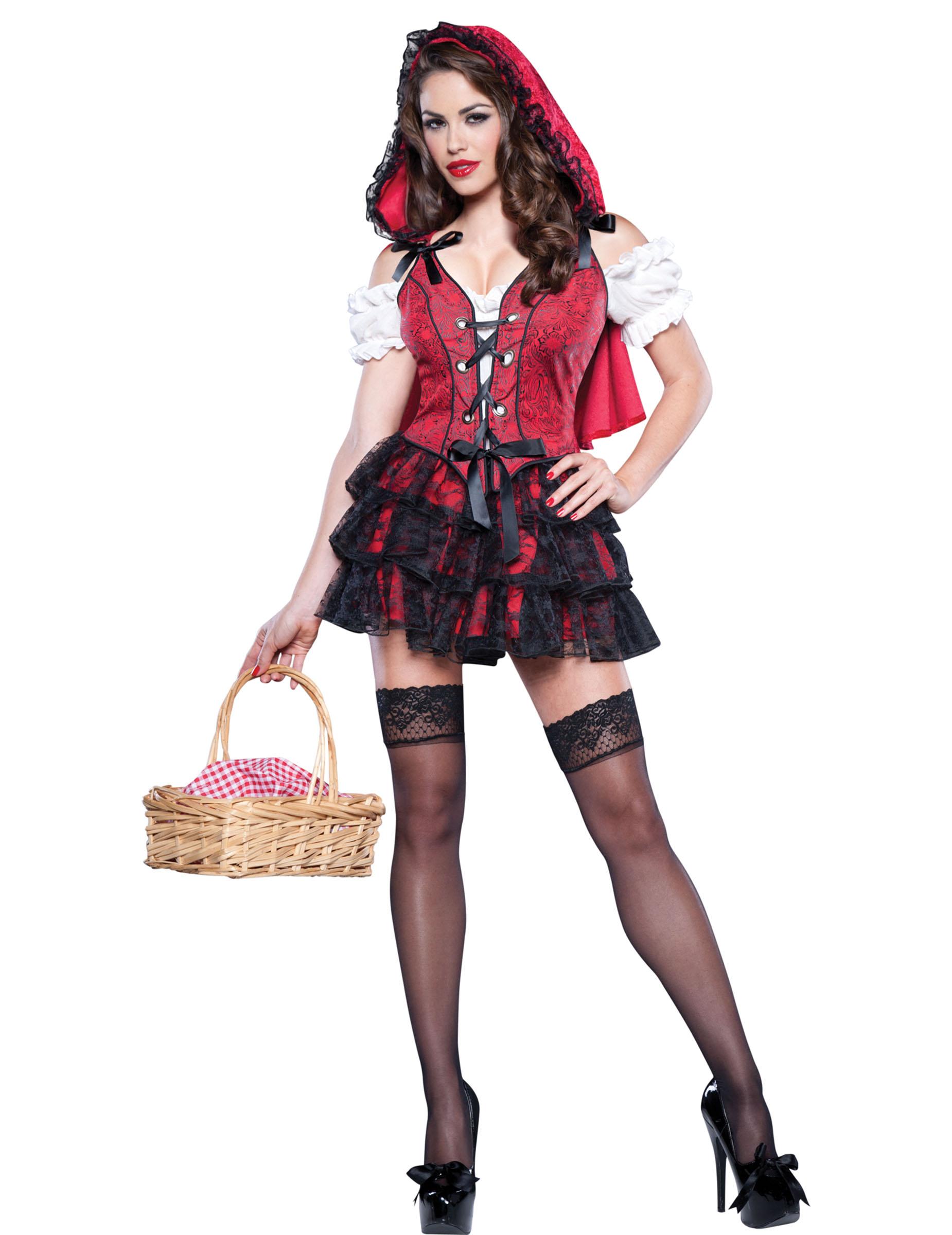 Sexy Rotkappchen Damen Kostum Rot Schwarz Weiss Gunstige Faschings