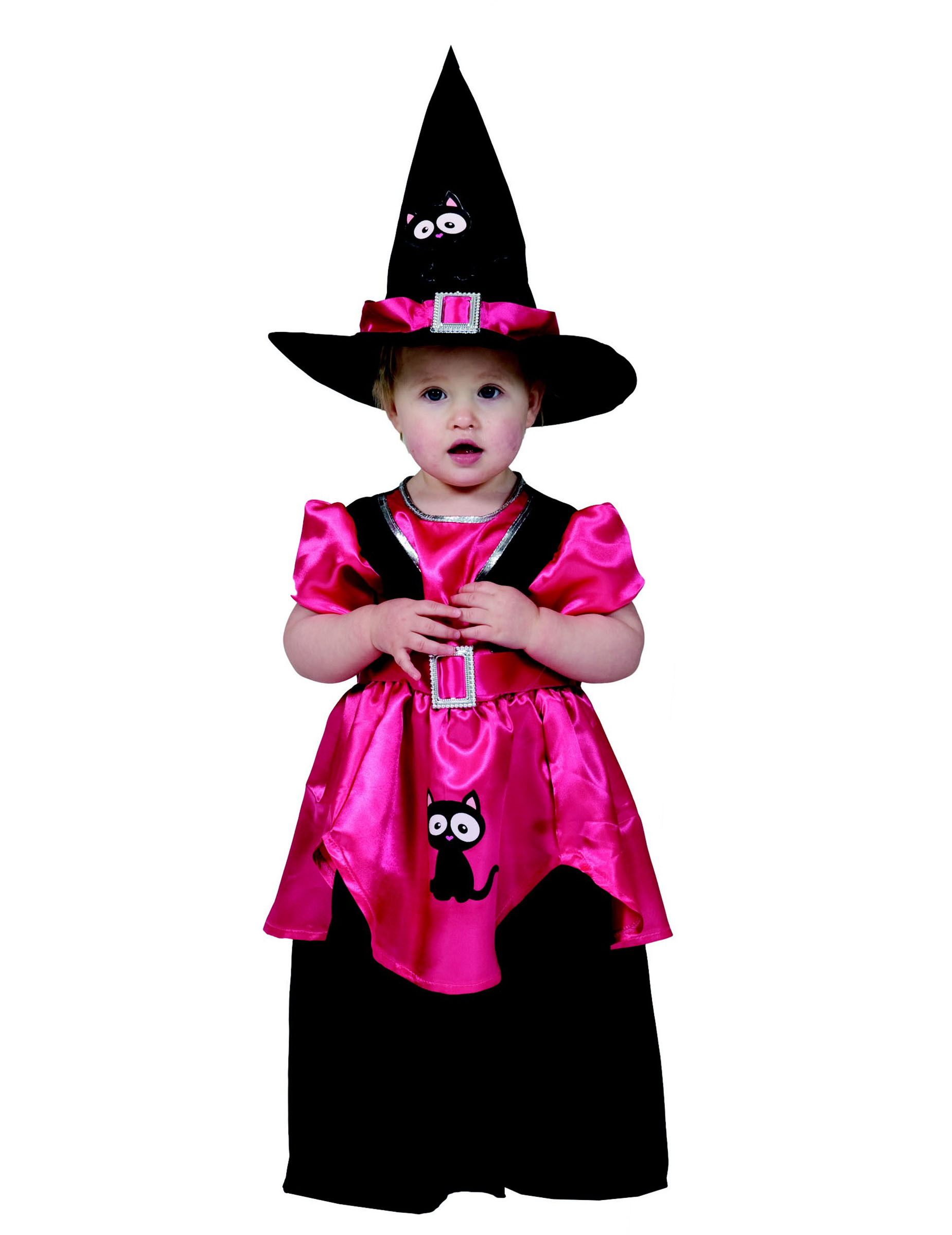 Kleine Hexe Mit Katze Kleinkinder Kostum Pink Schwarz Gunstige