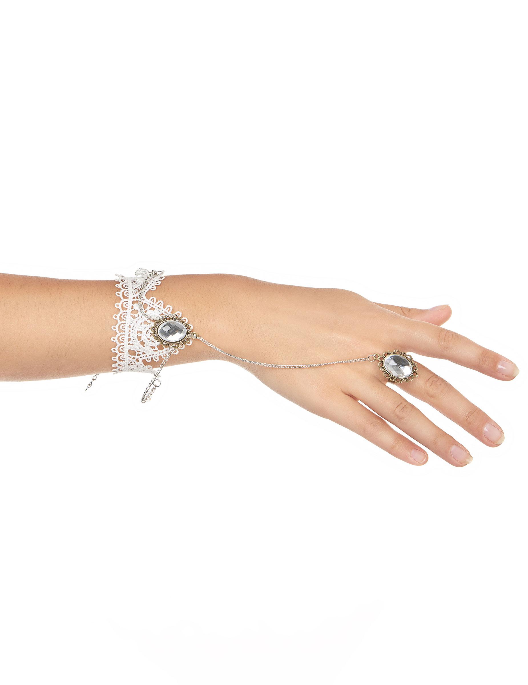 edles spitzen armband mit ring weiss silber g nstige faschings accessoires zubeh r bei. Black Bedroom Furniture Sets. Home Design Ideas