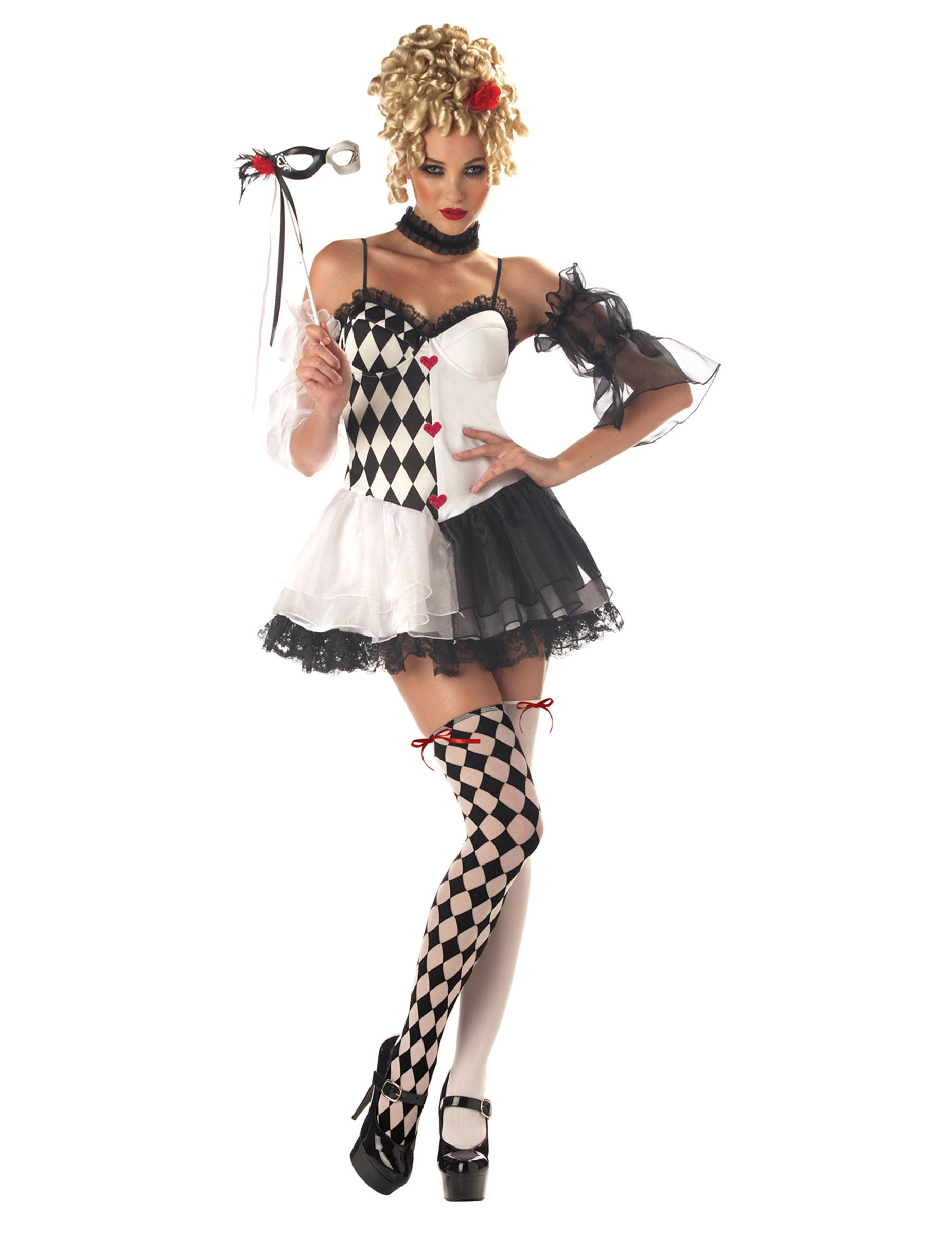 Clown Frau Harlekin Damenkostum Schwarz Weiss Rot Gunstige