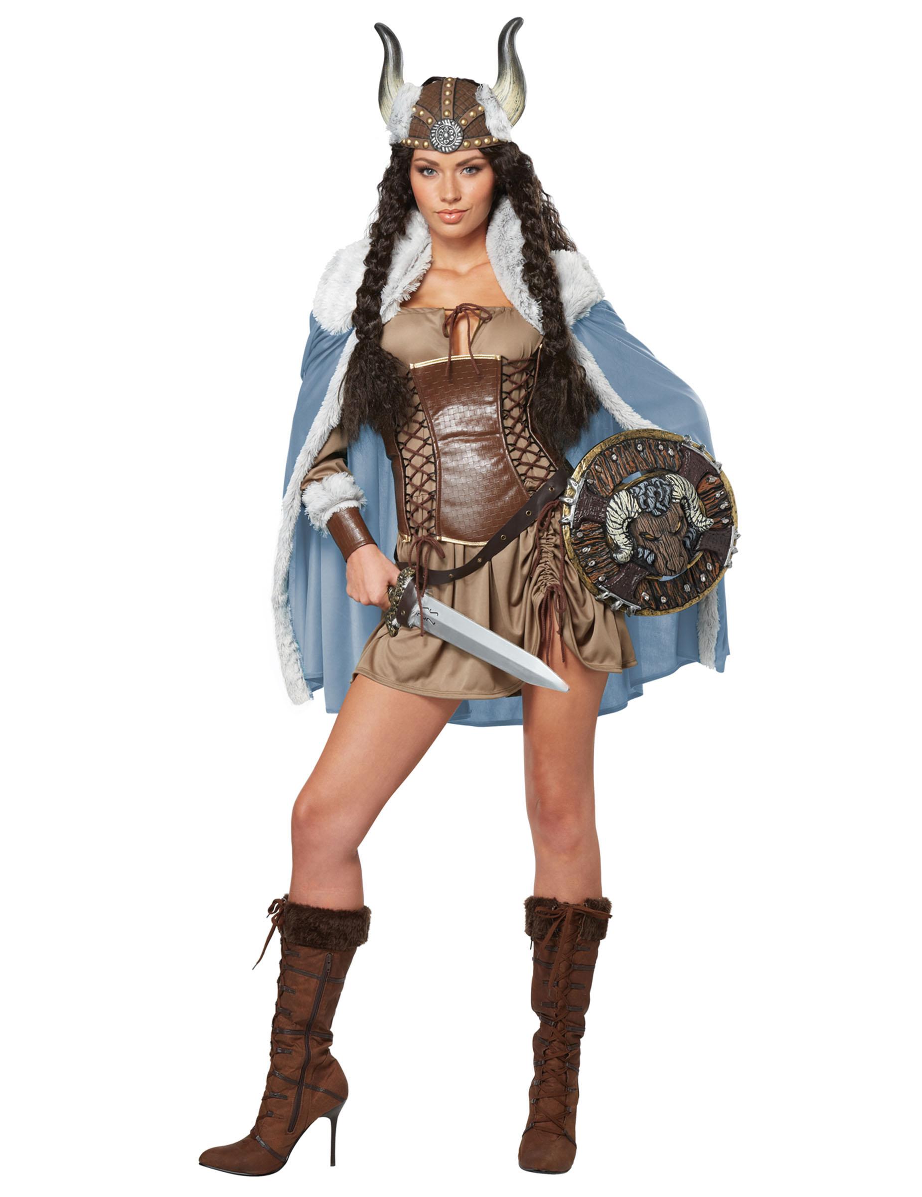 Wikinger Kriegerin Damenkostum Mittelalter Braun Blau Gunstige