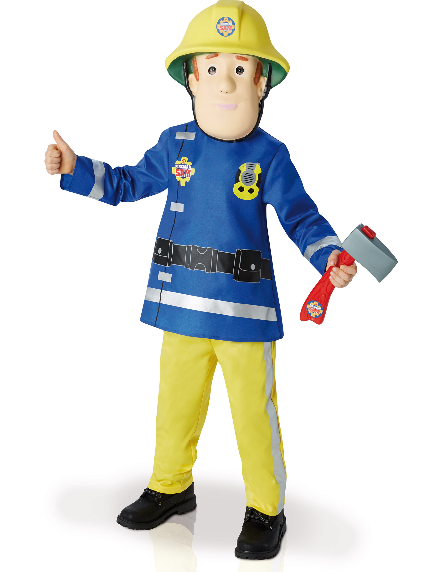 fireman sam feuerwehrmann kinderkost m lizenzware blau gelb g nstige faschings kost me bei. Black Bedroom Furniture Sets. Home Design Ideas