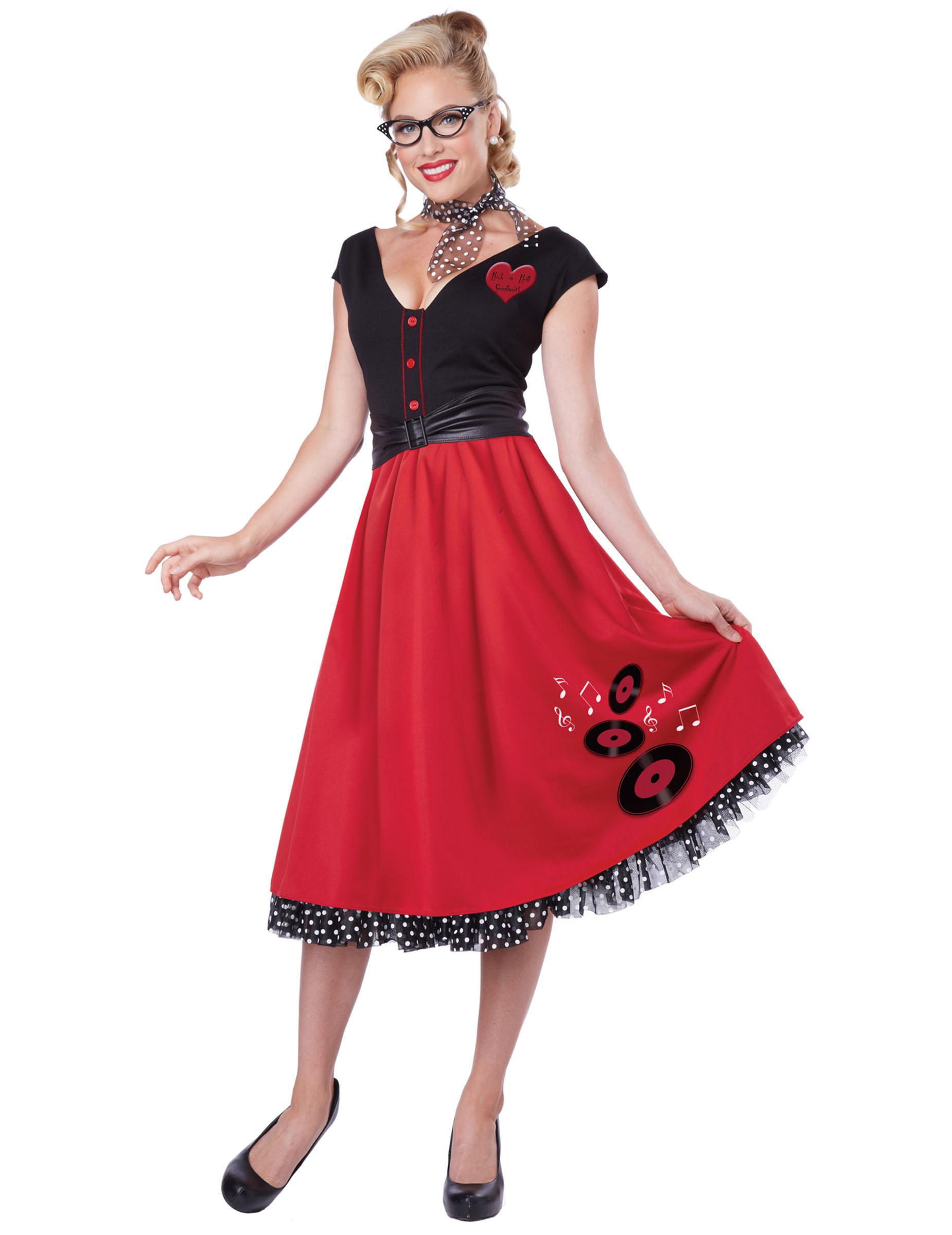 f0519ba02bba8c 50er Jahre Rockabilly Damenkostüm Petticoat rot-schwarz , günstige ...