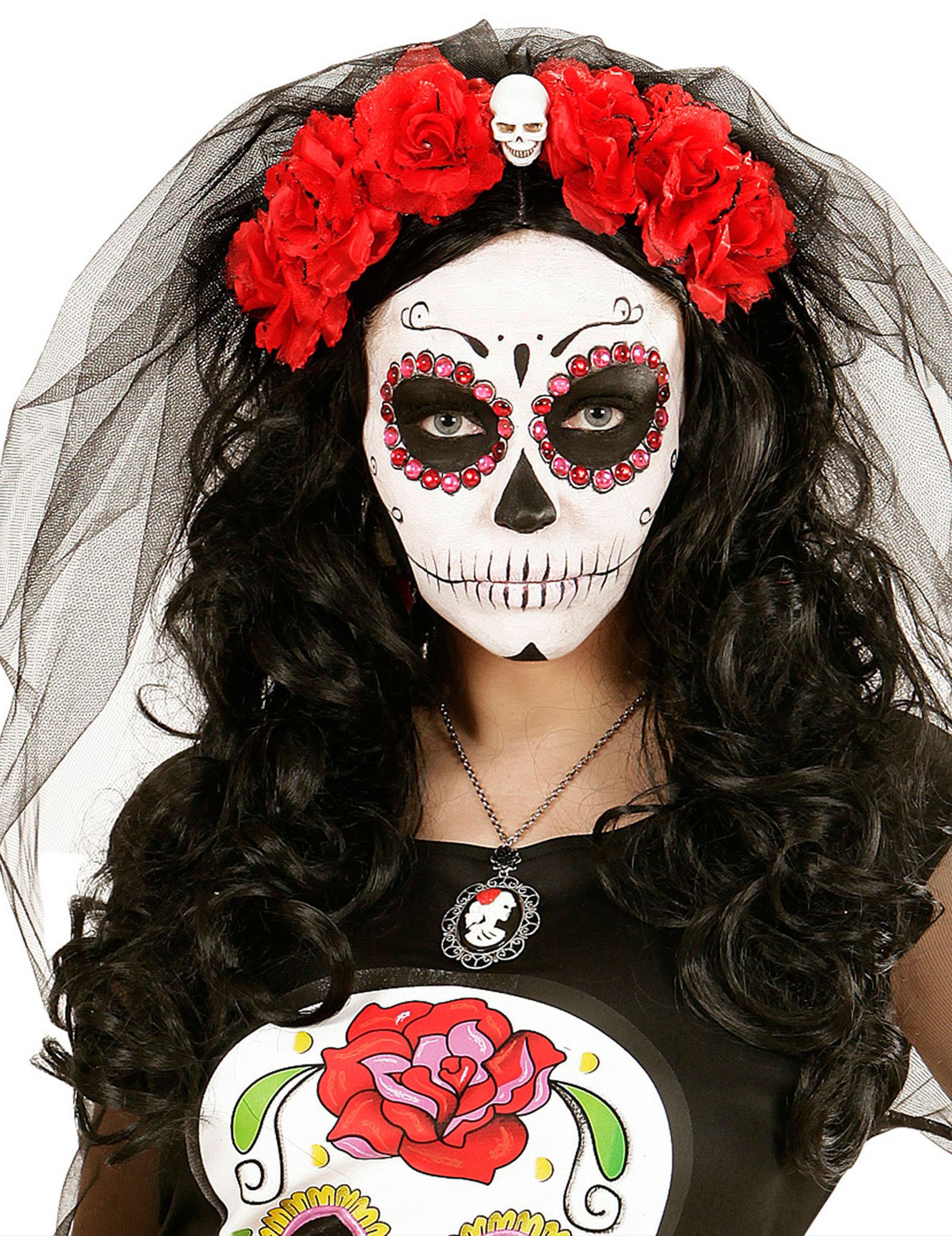 Tag der Toten Haarreif Totenkopf mit Rosen und Schleier schwarz weiss rot