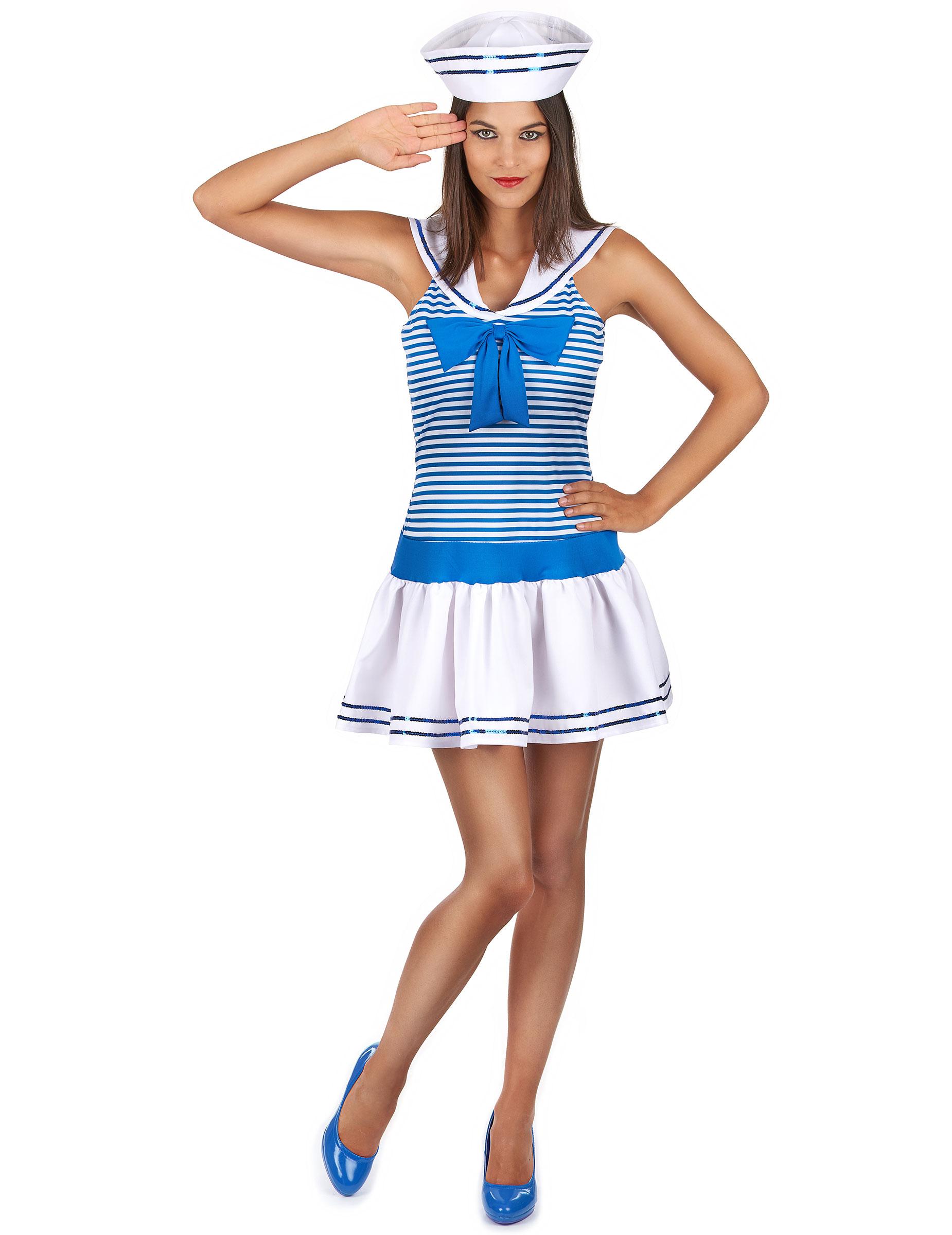 Damen Kostüm Matrosin Kleid blau weiß Karneval Fasching Smi