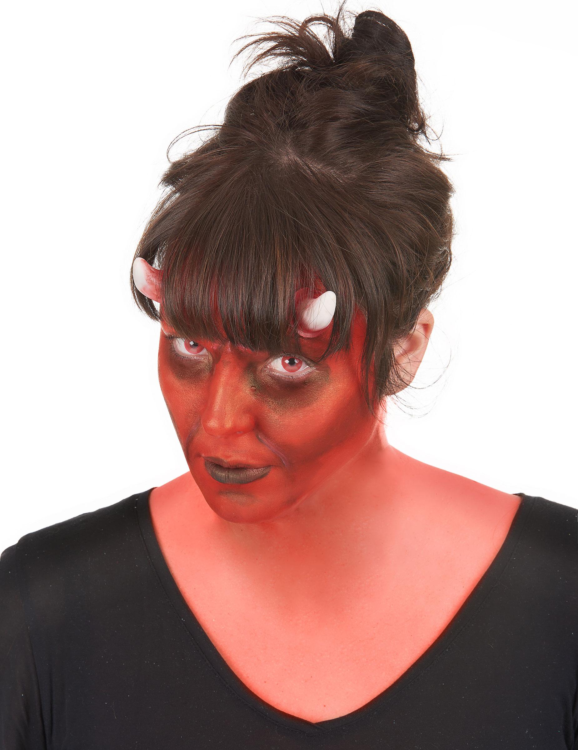 Teufel Halloween Make Up Set 10 Teilig Rot Weiss Schwarz Gunstige