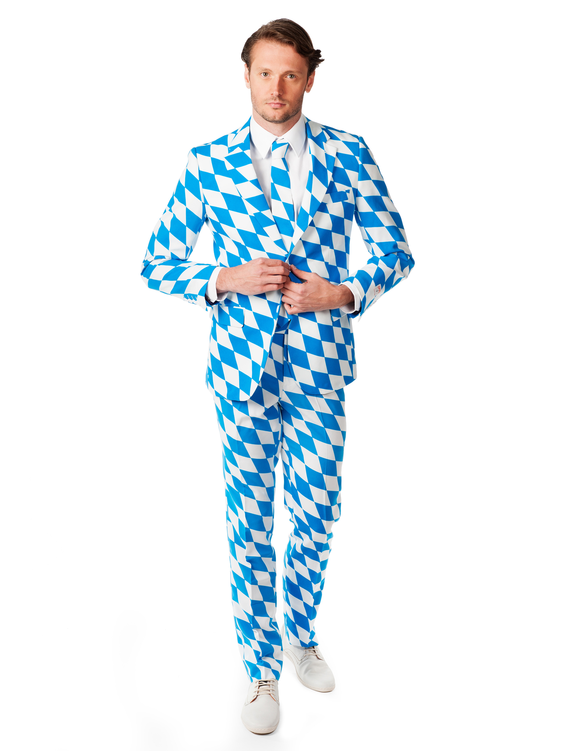 Sonderkauf Online kaufen weltweit bekannt Opposuits™ Mr. Bavarian Herren-Anzug blau-weiss