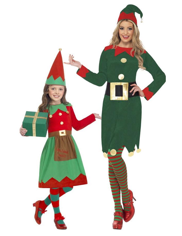 zum halben Preis großer Rabatt heißester Verkauf Weihnachtswichtel Kostüm-Set für Mutter und Tochter grün-rot-gold
