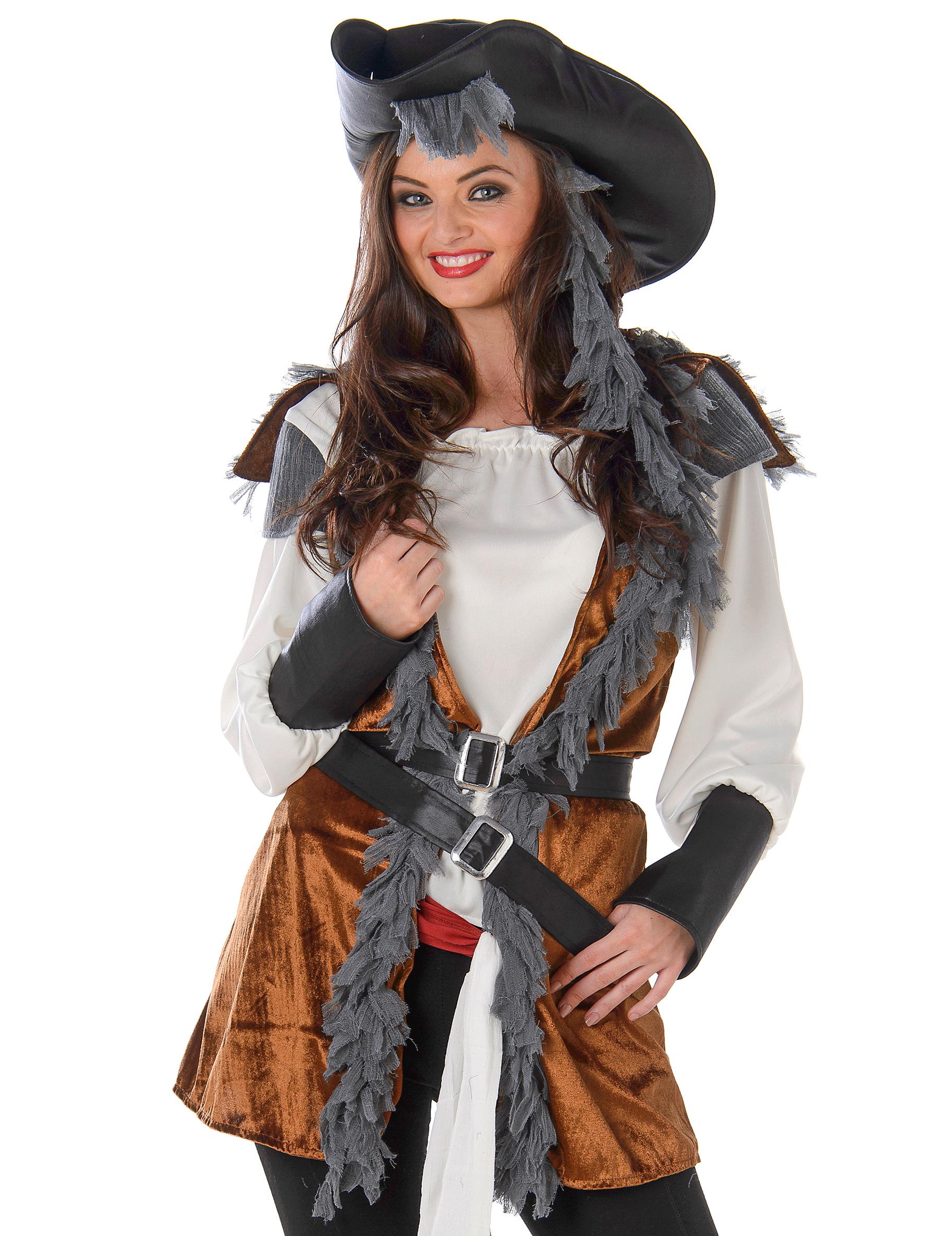 elegante piratin damenkost m braun weiss g nstige faschings kost me bei karneval megastore. Black Bedroom Furniture Sets. Home Design Ideas