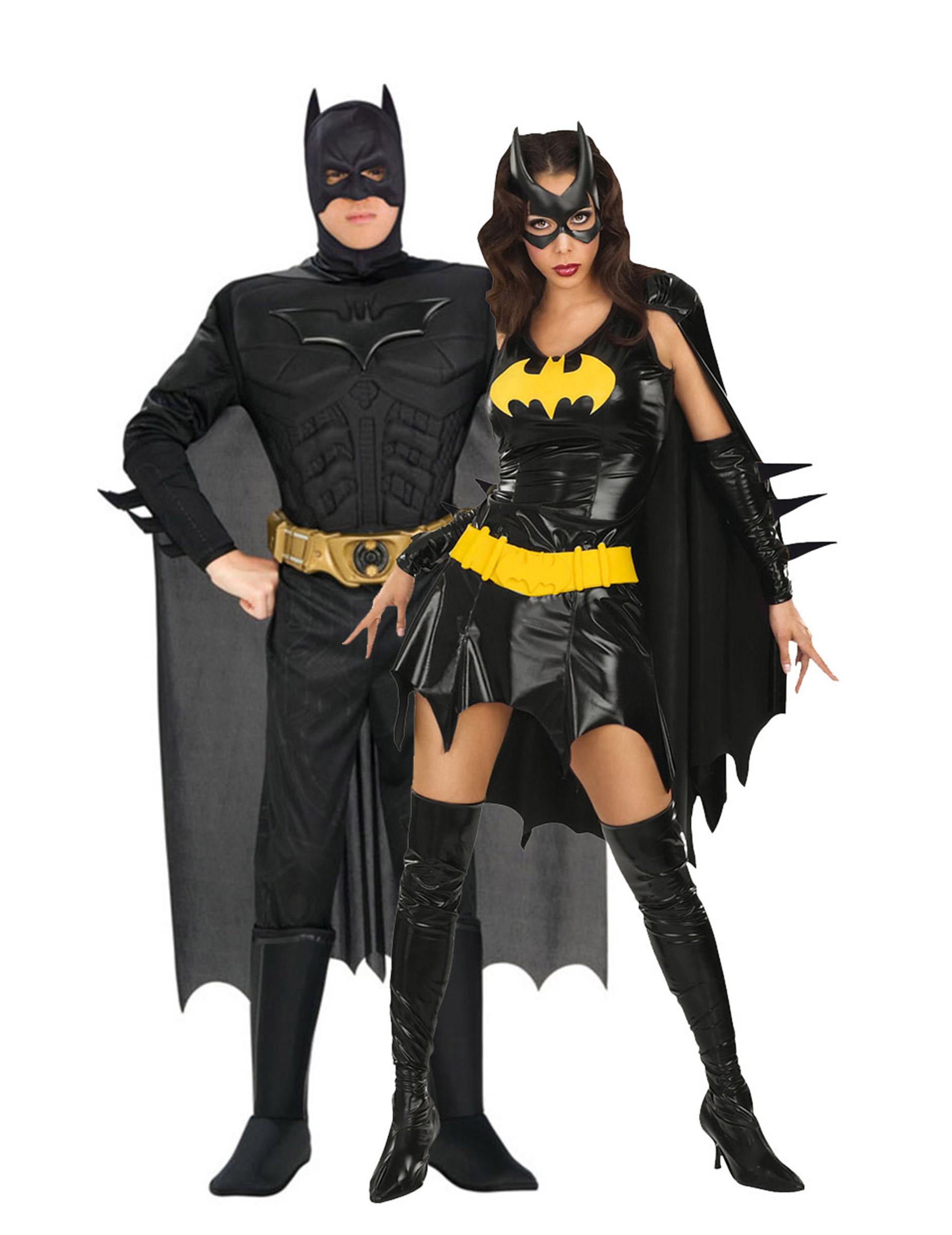 p rchen kost m set batman batgirl schwarz gelb. Black Bedroom Furniture Sets. Home Design Ideas