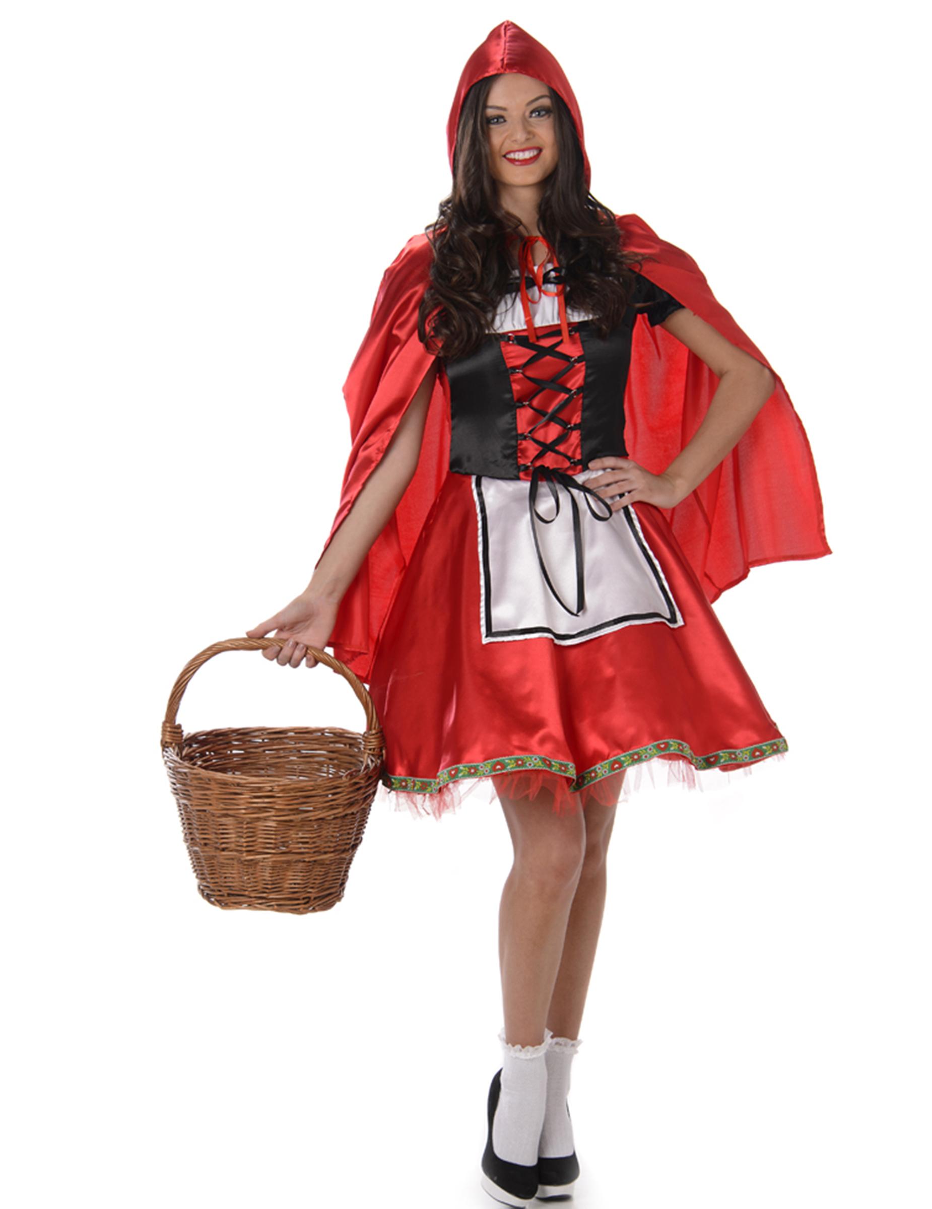 Rotkappchen Damenkostum Marchen Rot Schwarz Weiss Gunstige