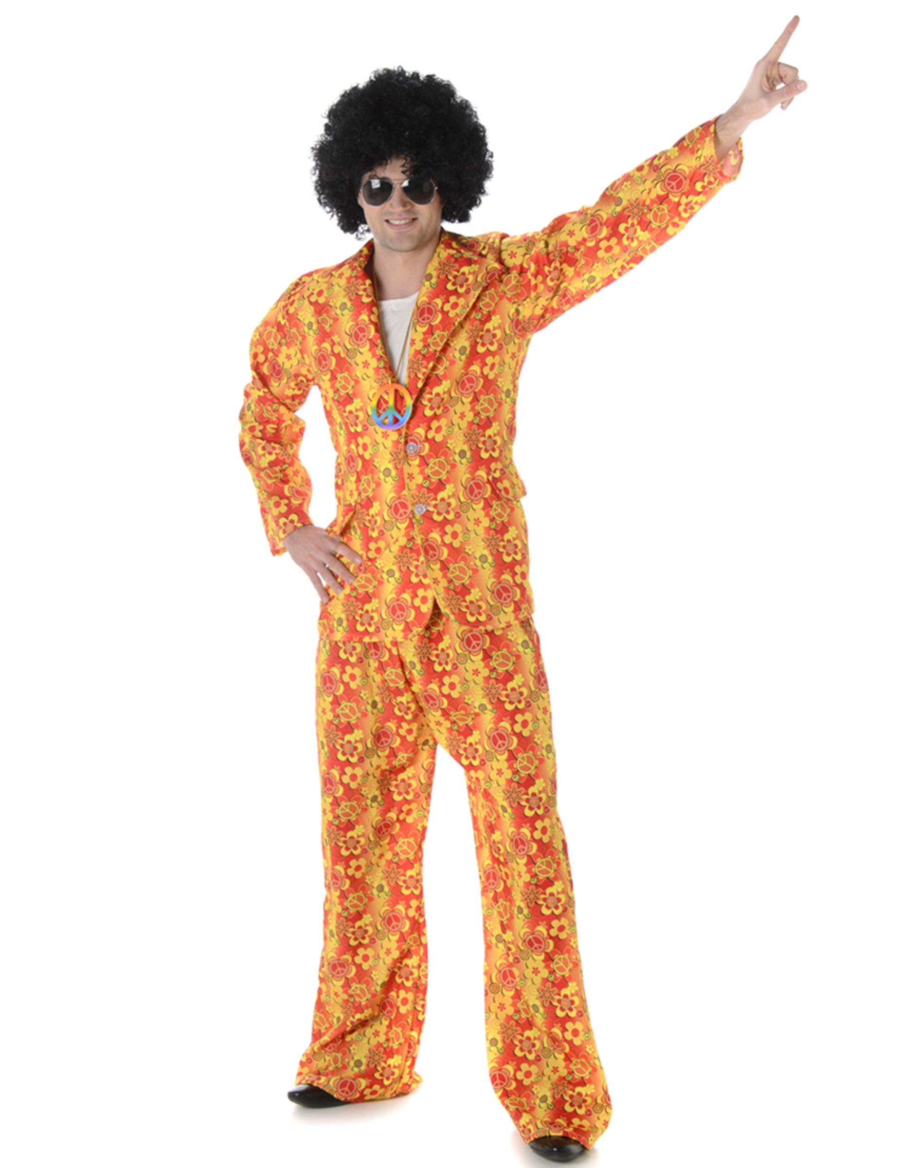 hippie anzug 70er jahre kost m gelb orange g nstige faschings kost me bei karneval megastore. Black Bedroom Furniture Sets. Home Design Ideas