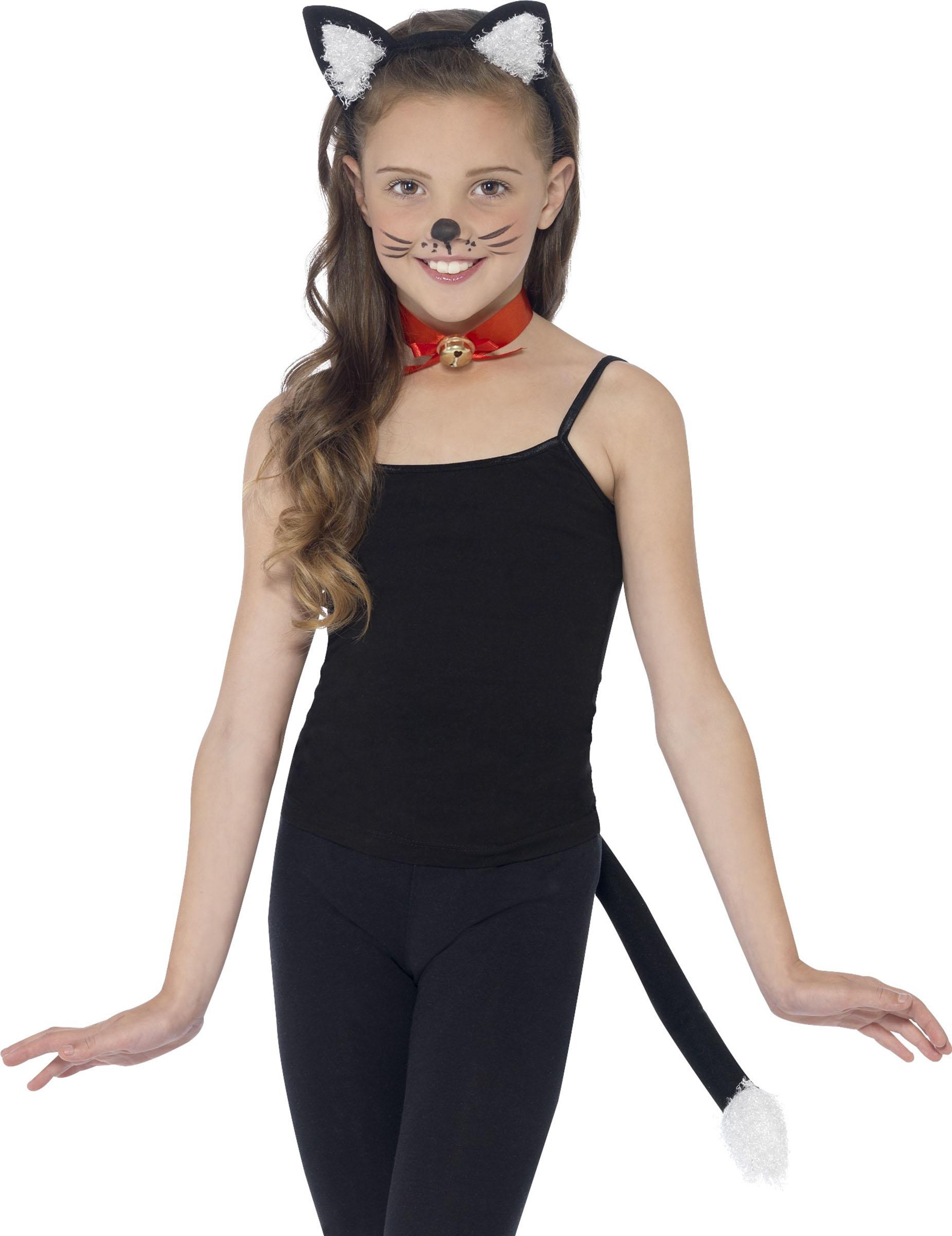 Süßes Katzenkostüm-Set für Kinder mit Katzenohren Katzenschwanz Katzen Halsband
