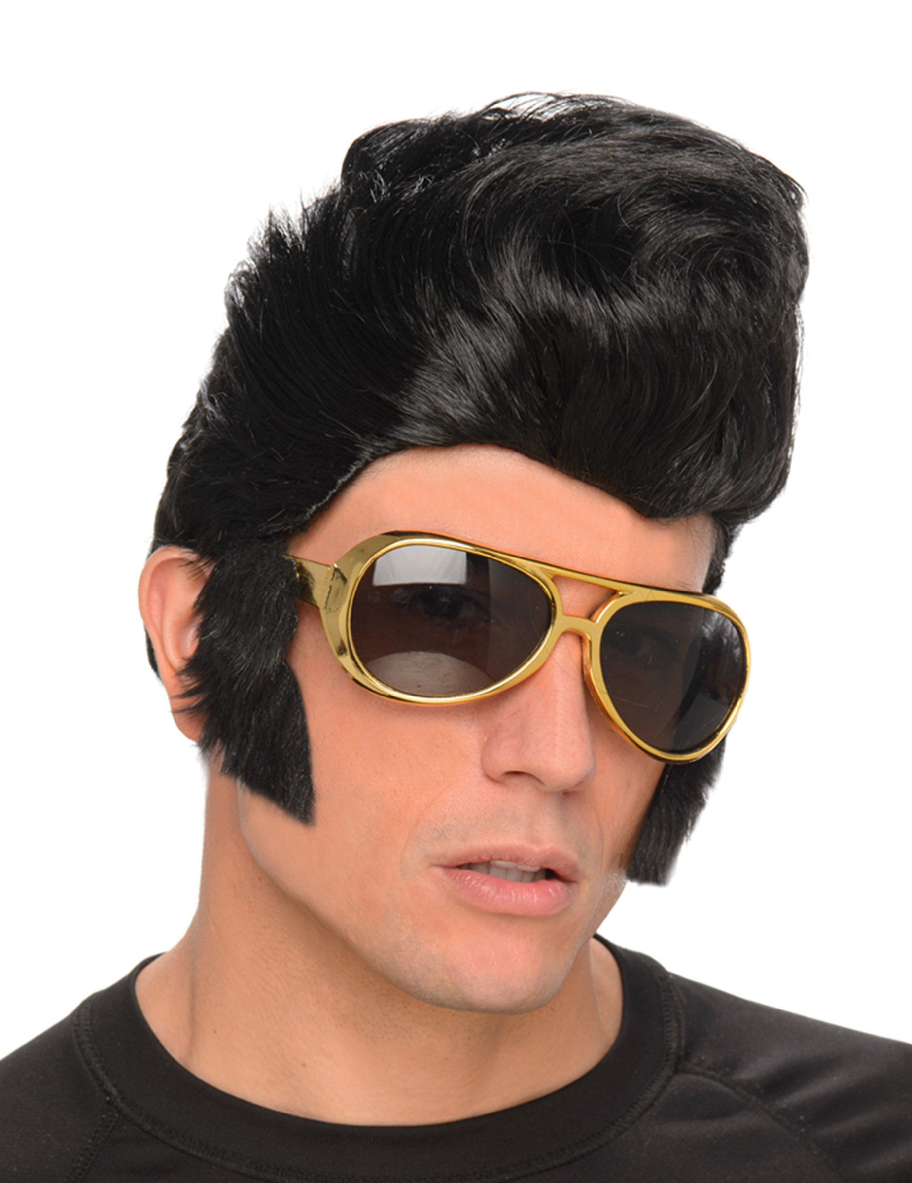 Rock and Roll Perücke Herren schwarz mit Brille gold Einheitsgröße lxeKbZu