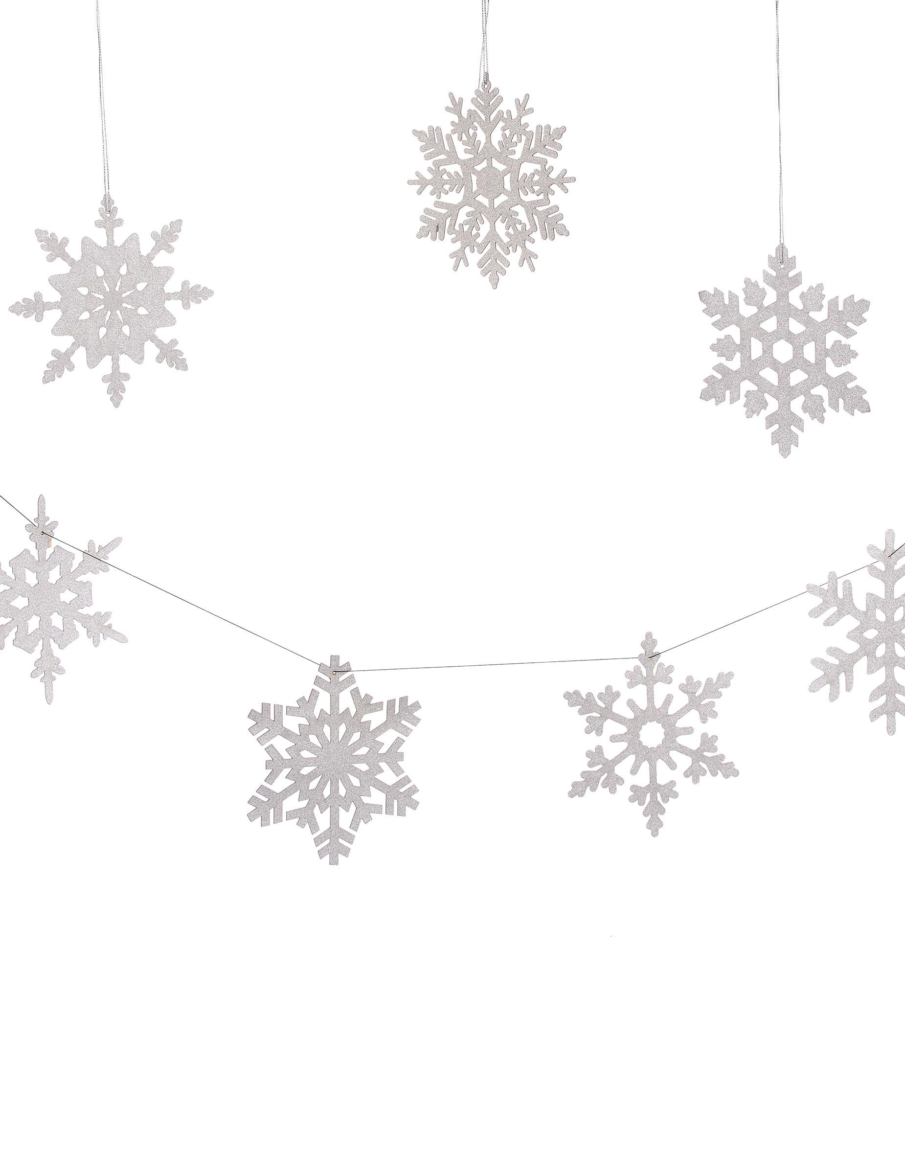 Schneeflocken Dekogirlande Weihnachten silber , günstige Faschings ...