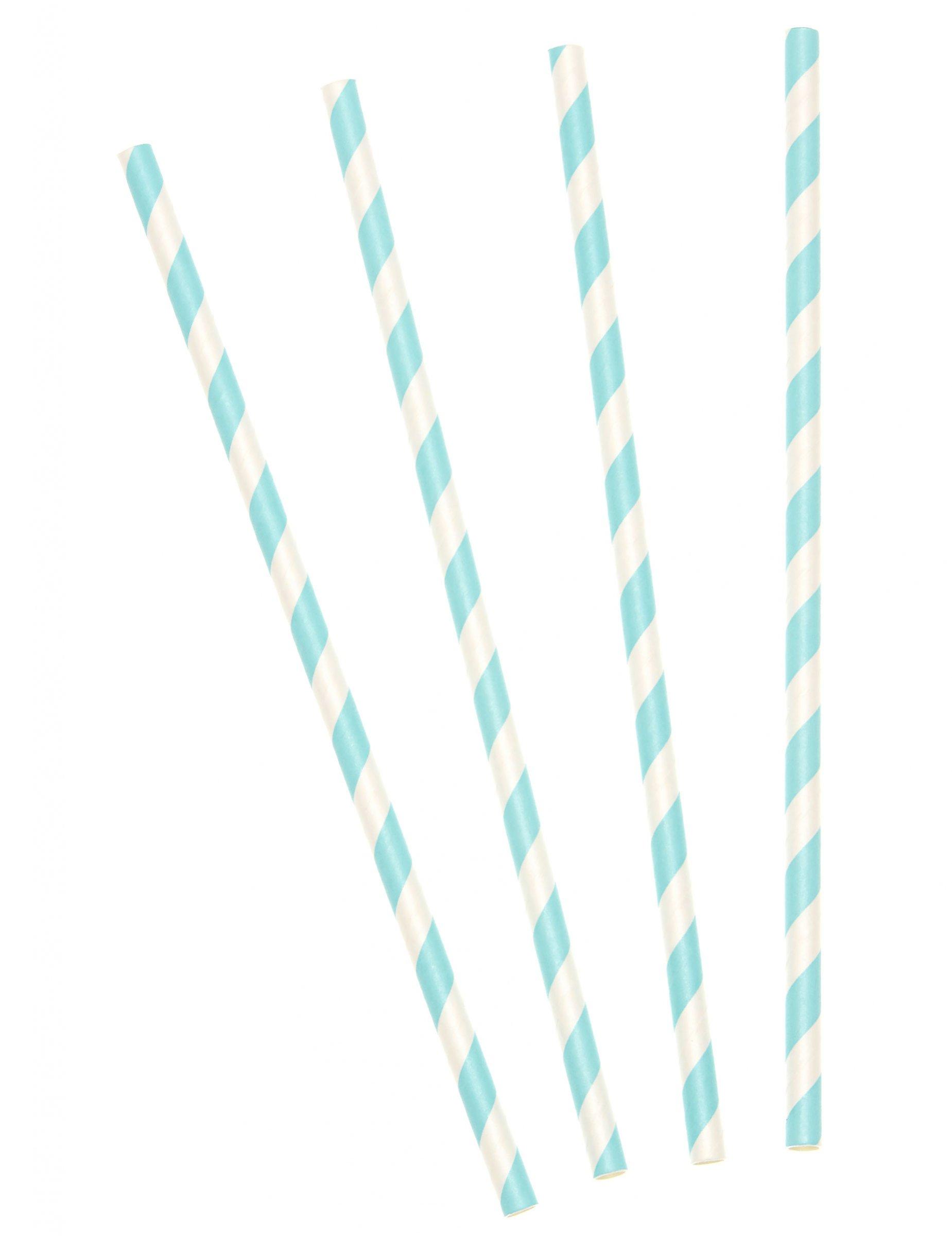 10 Strohhalme himmelblau gestreift