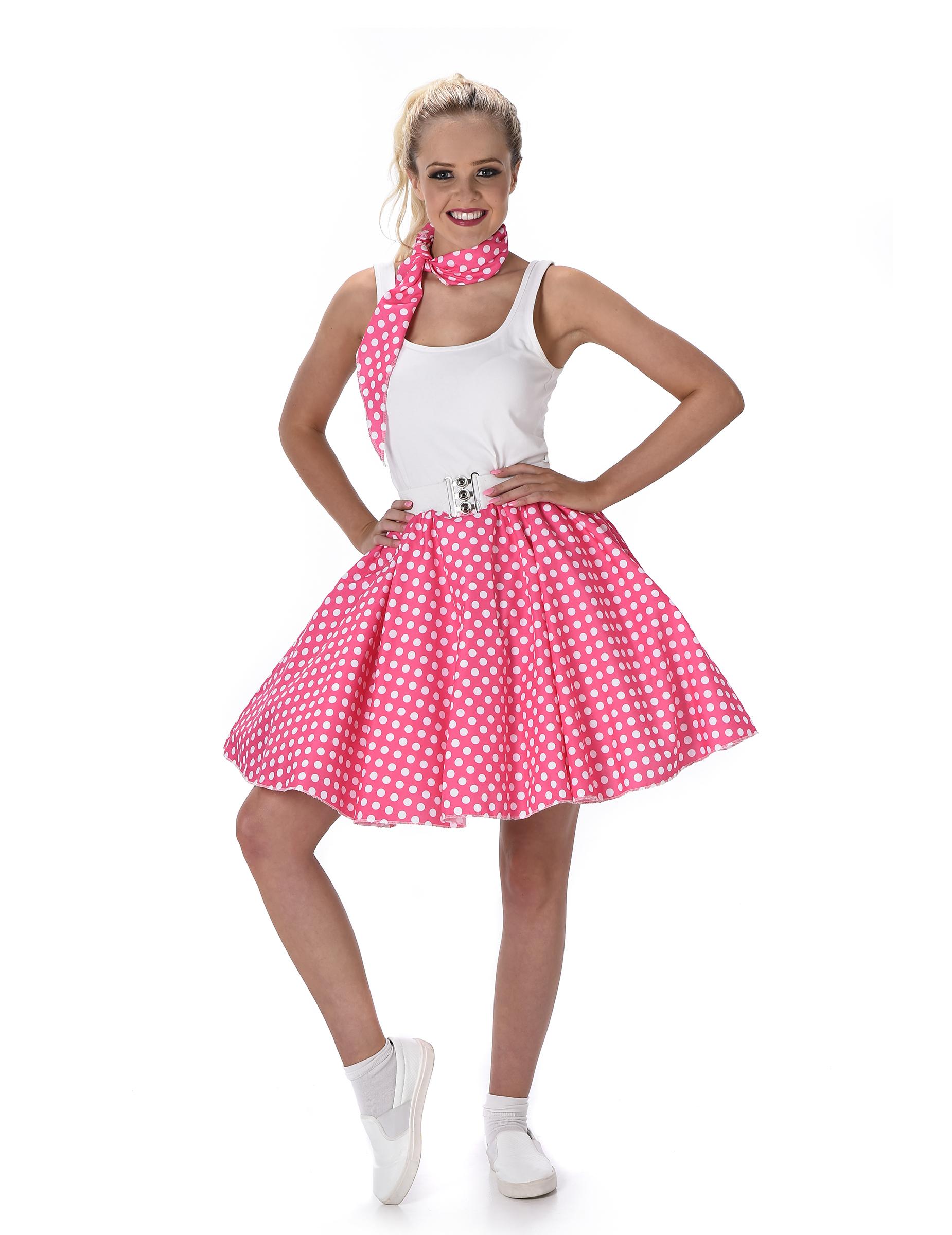 fb34642ed59a 50er-Jahre Rockabilly Petticoat-Rock mit Halstuch pink-weiss