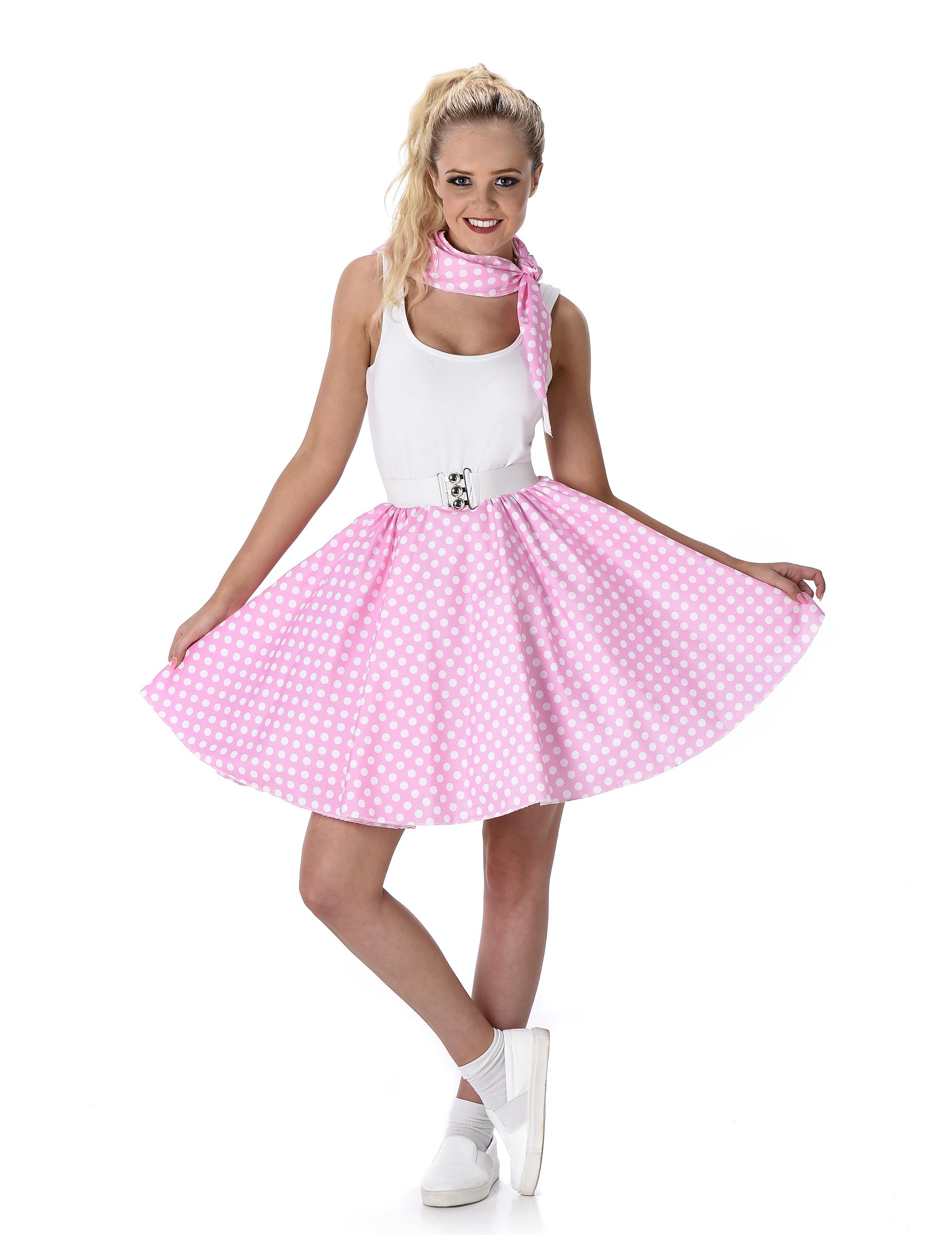 93b8a20ec69f 50er-Jahre Rockabilly Petticoat-Rock mit Halstuch rosa-weiss