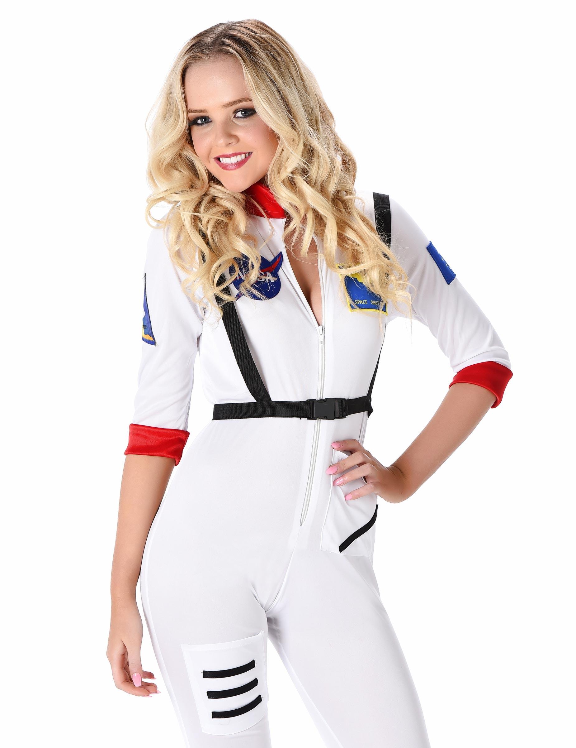 Astronautin Damenkostum Raumfahrerin Weiss Bunt Gunstige Faschings