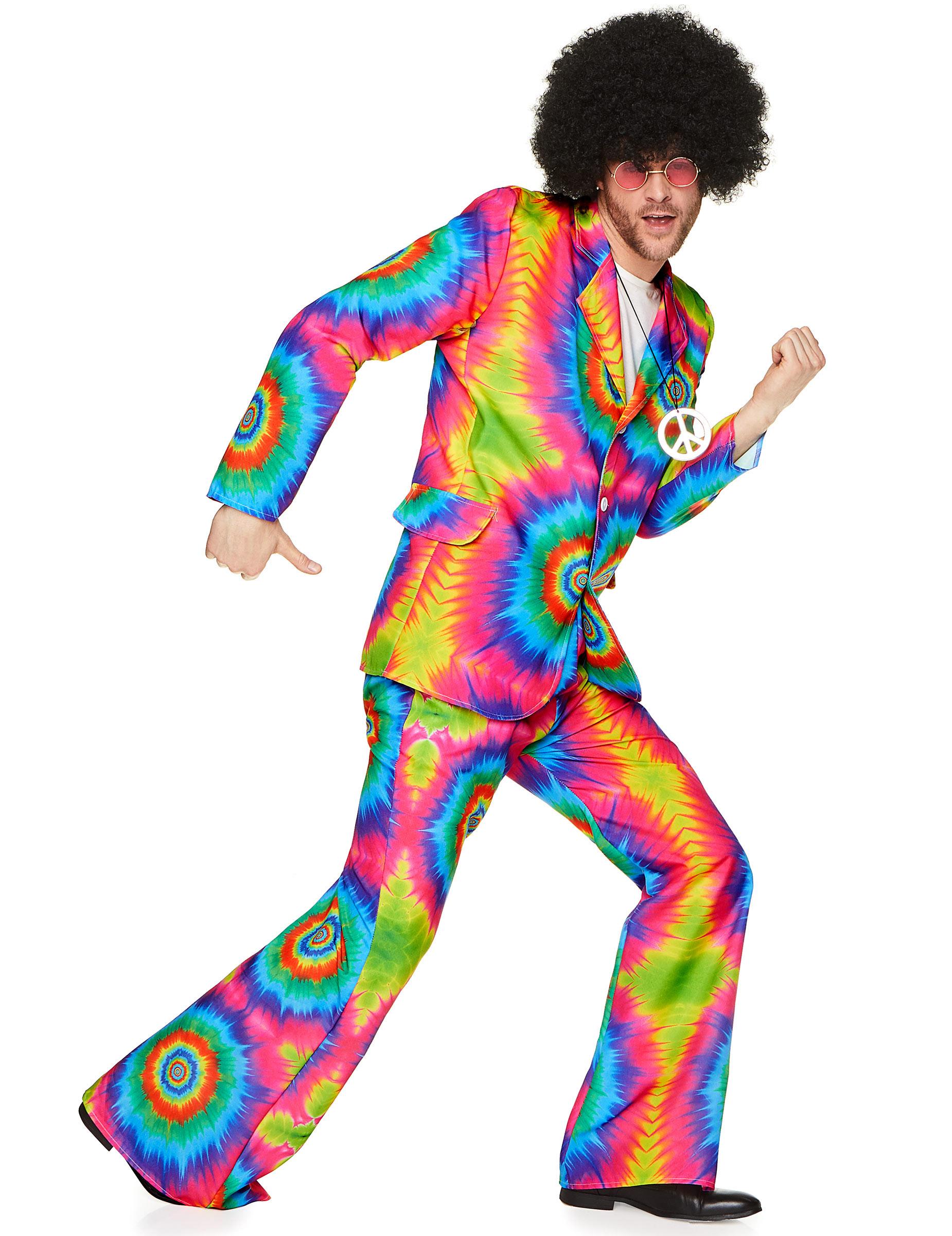 70er Jahre Batik Anzug Disco Kostüm neonbunt
