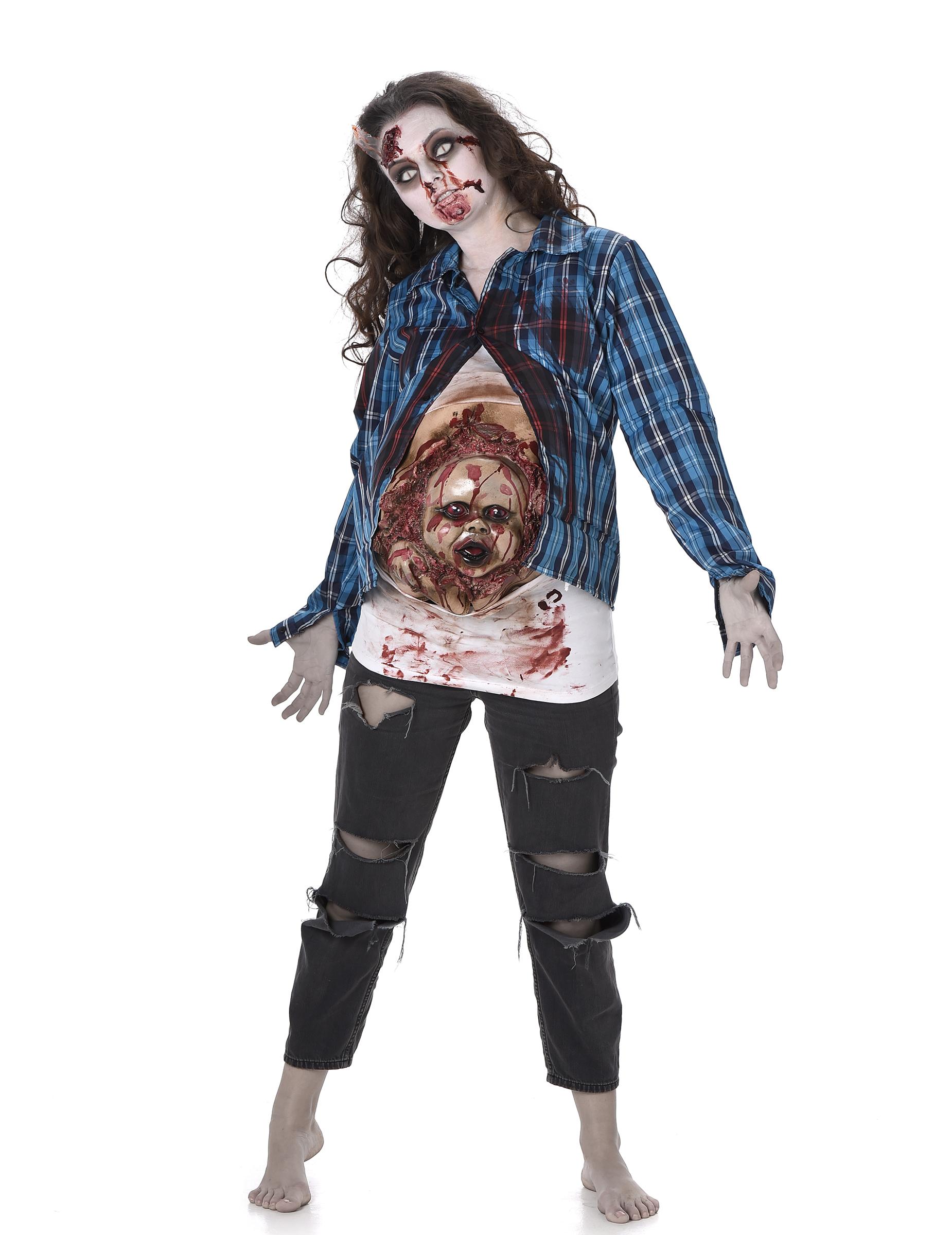 Horrorkostum Schwangere Frau Mit Zombiebaby Bunt