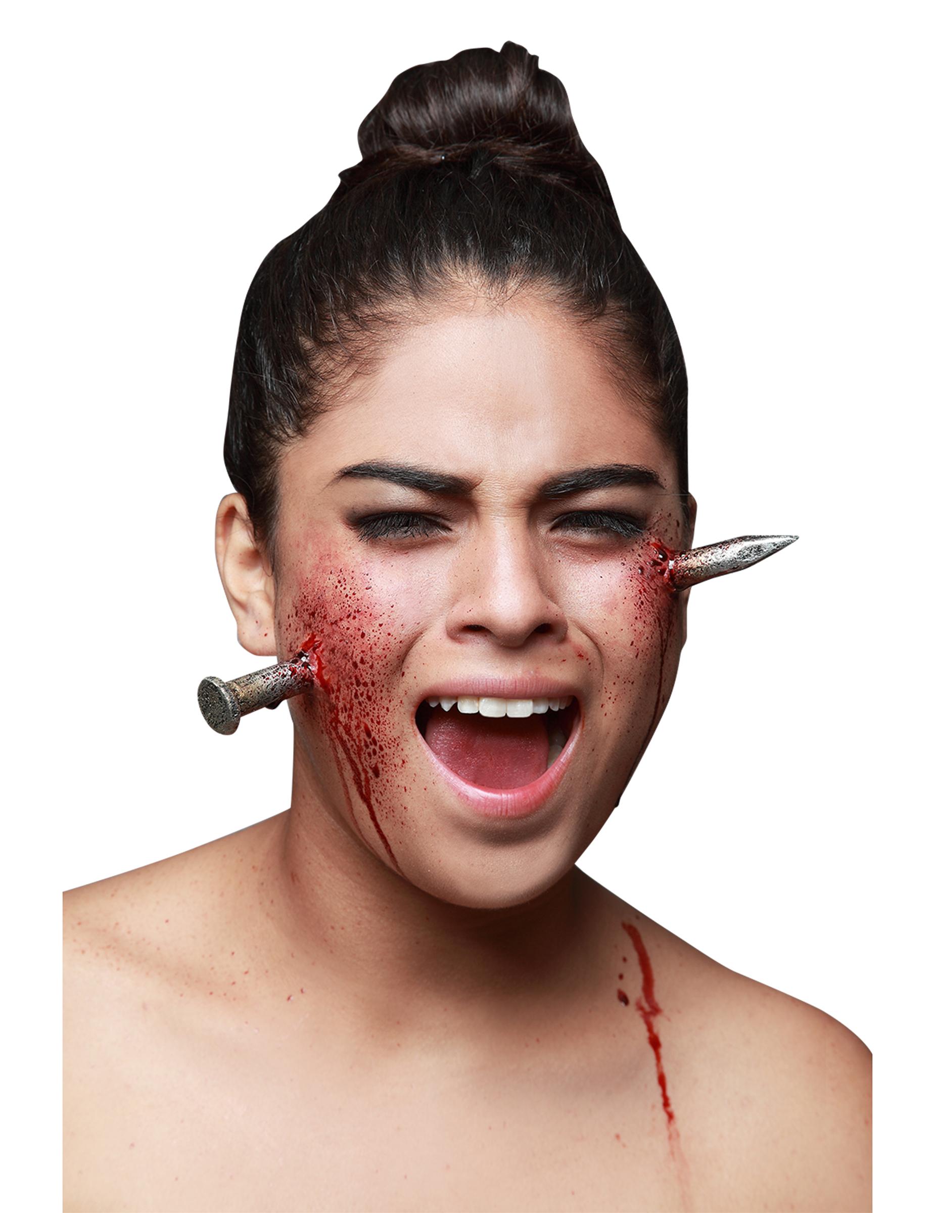 Latexapplikation Nagel Im Kopf 2-teilig Silber-rot  Gu00fcnstige Faschings Make-up Bei Karneval ...