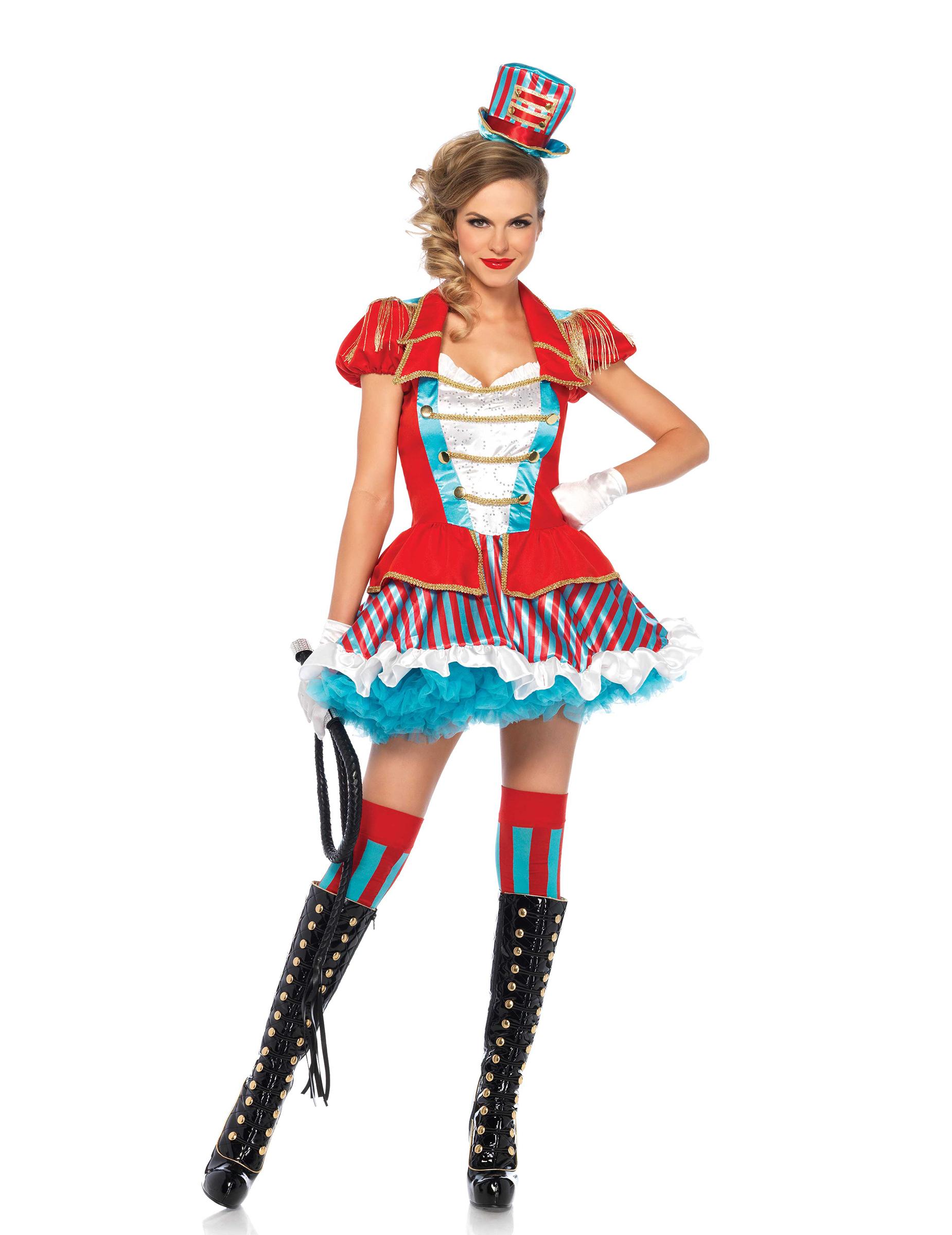 38bfd48187244 Sexy Zirkus-Direktorin Damenkostüm Dompteurin rot-blau-weiss ...