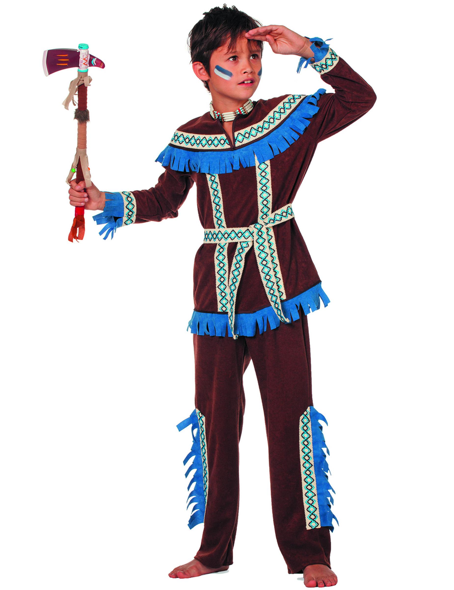 indianerkrieger kinderkost m blau g nstige faschings kost me bei karneval megastore. Black Bedroom Furniture Sets. Home Design Ideas