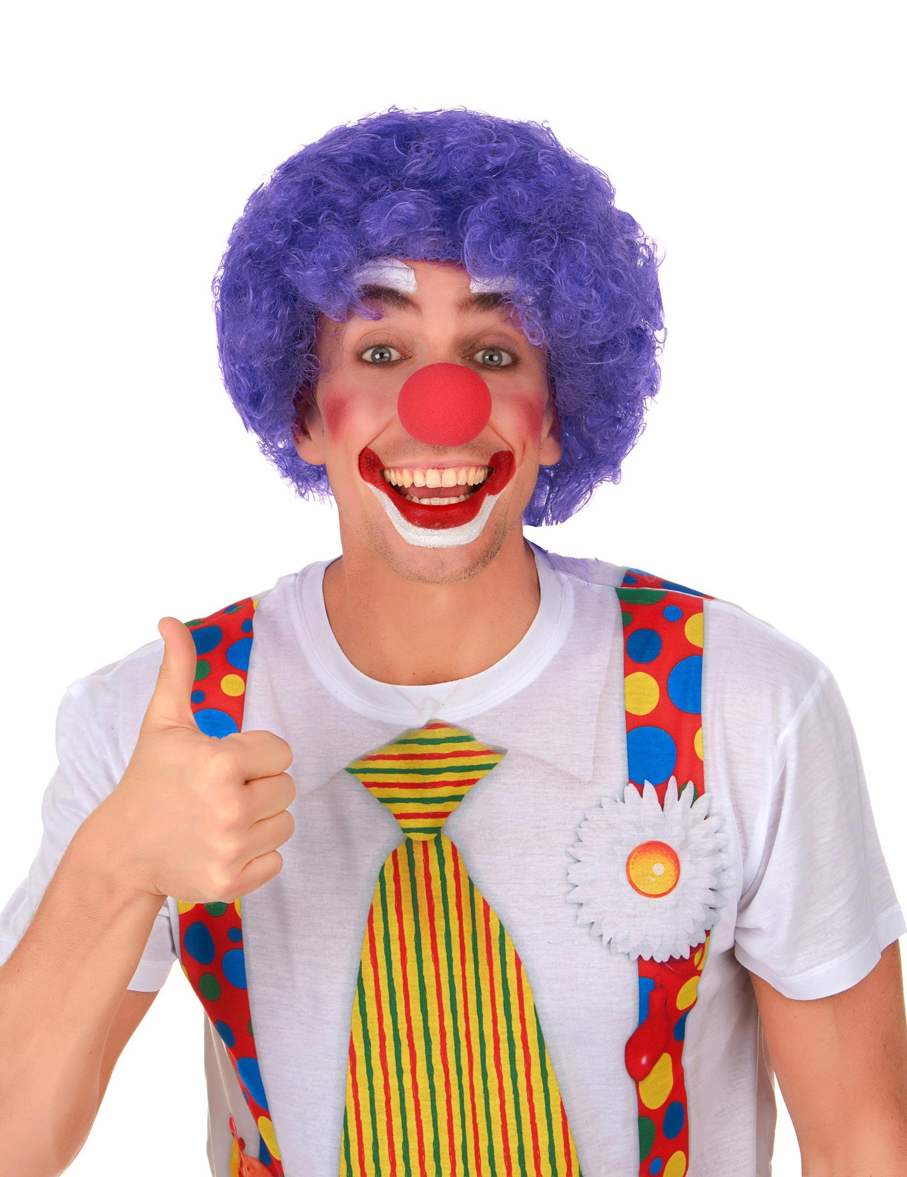 lustige clown afro per cke lila g nstige faschings accessoires zubeh r bei karneval megastore. Black Bedroom Furniture Sets. Home Design Ideas
