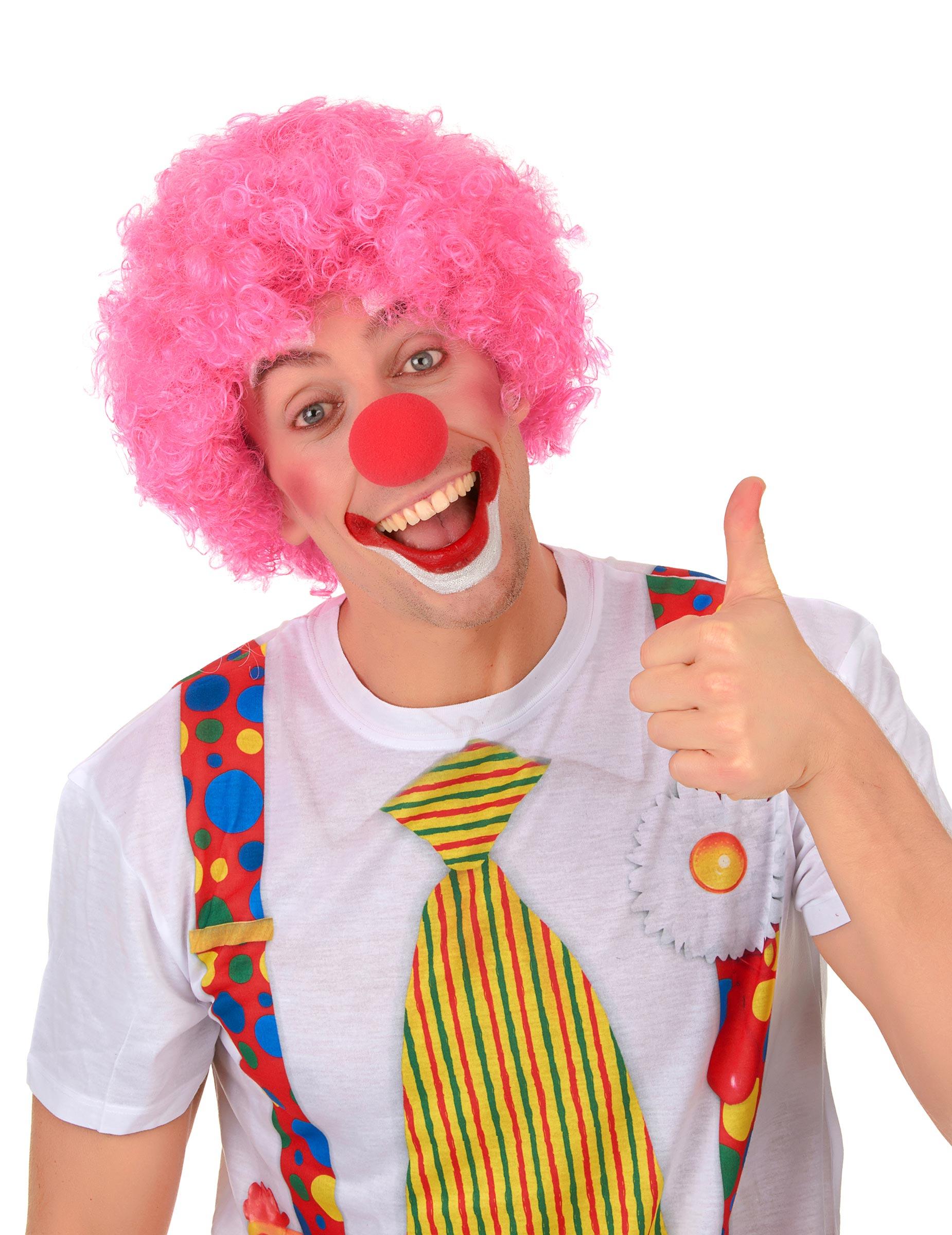 lustige clown afro per cke rosa g nstige faschings accessoires zubeh r bei karneval megastore. Black Bedroom Furniture Sets. Home Design Ideas