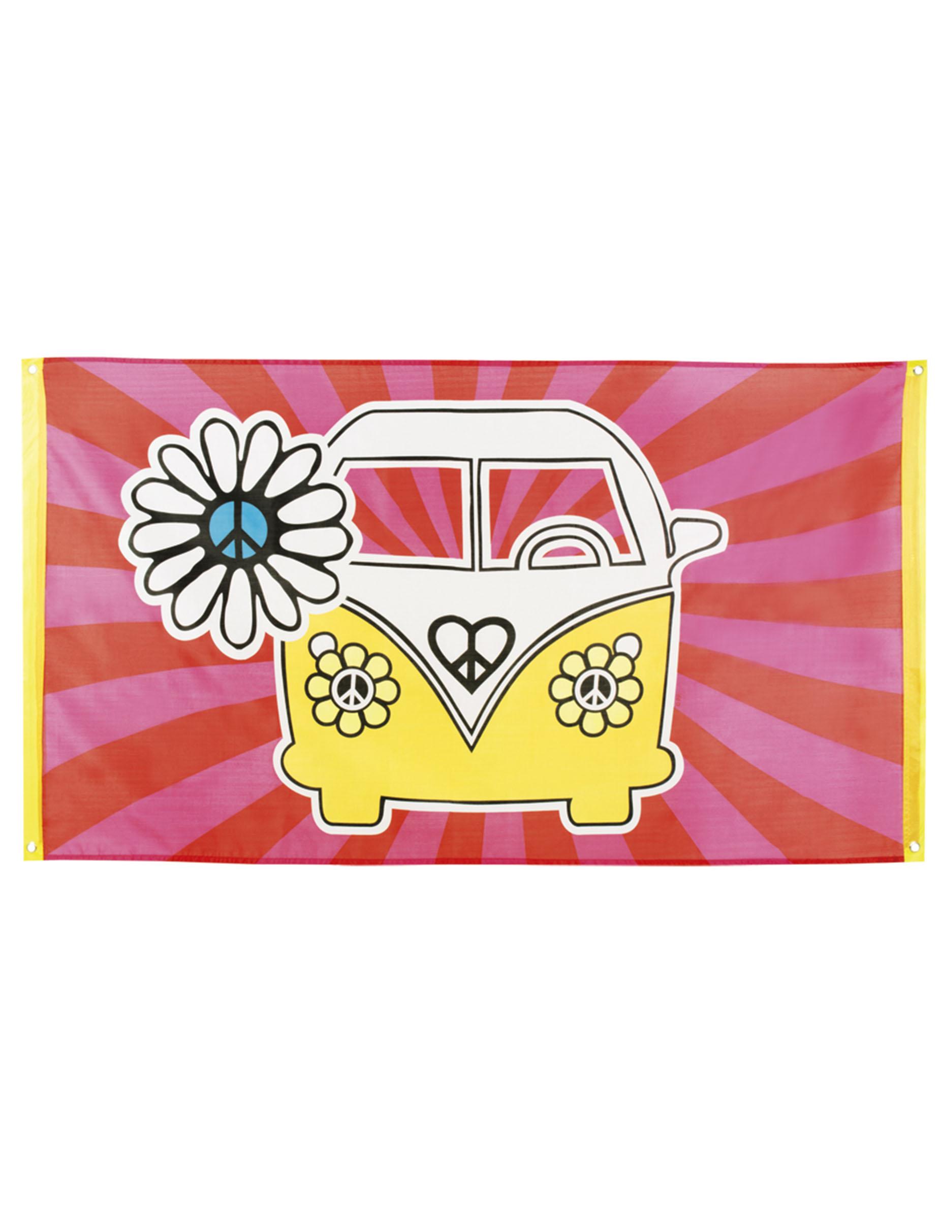 Hippie Flagge Flower Power Banner Fahne 90 x 150 cm 70er Jahre Mottoparty Deko