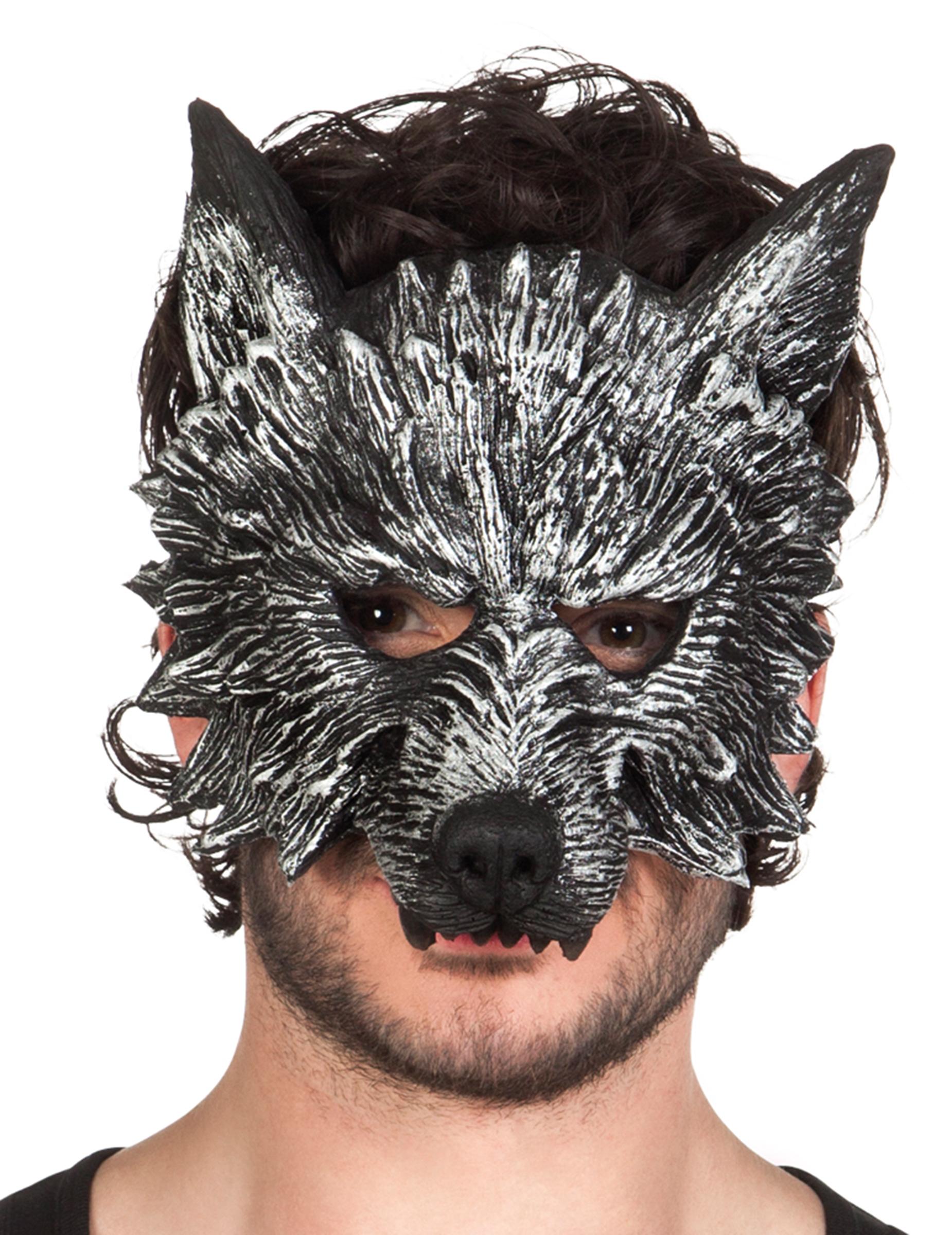 werwolf halbmaske halloween f r erwachsene schwarz weiss g nstige faschings masken bei. Black Bedroom Furniture Sets. Home Design Ideas