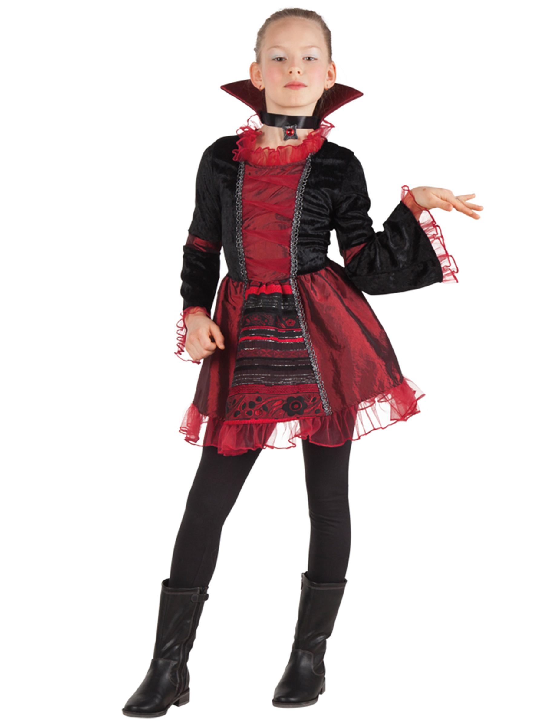 elegante vampirin halloween kinderkost m dunkelrot schwarz g nstige faschings kost me bei. Black Bedroom Furniture Sets. Home Design Ideas