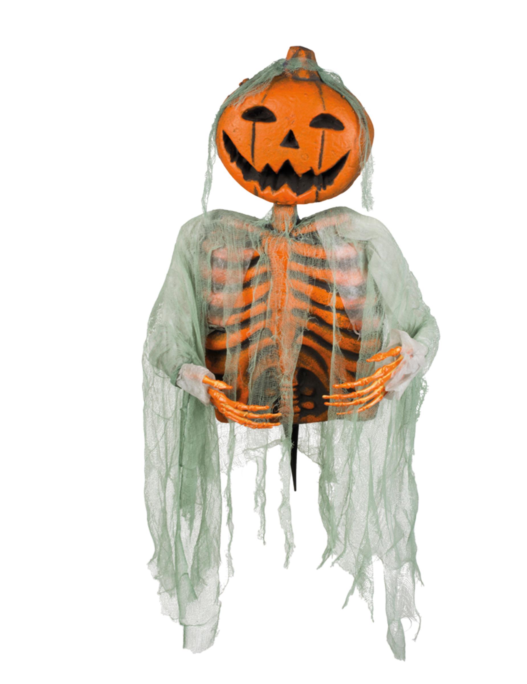 halloween deko skelett mit k rbiskopf schwarz orange 52cm. Black Bedroom Furniture Sets. Home Design Ideas