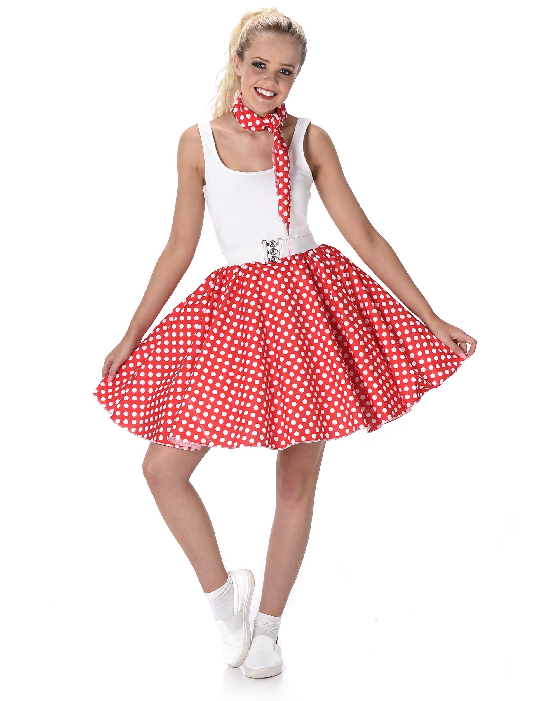 e1fc414787b1d4 60er Jahre Petticoat Rot Rockabilly Rock Mit Halstuch - OneLetter.CO