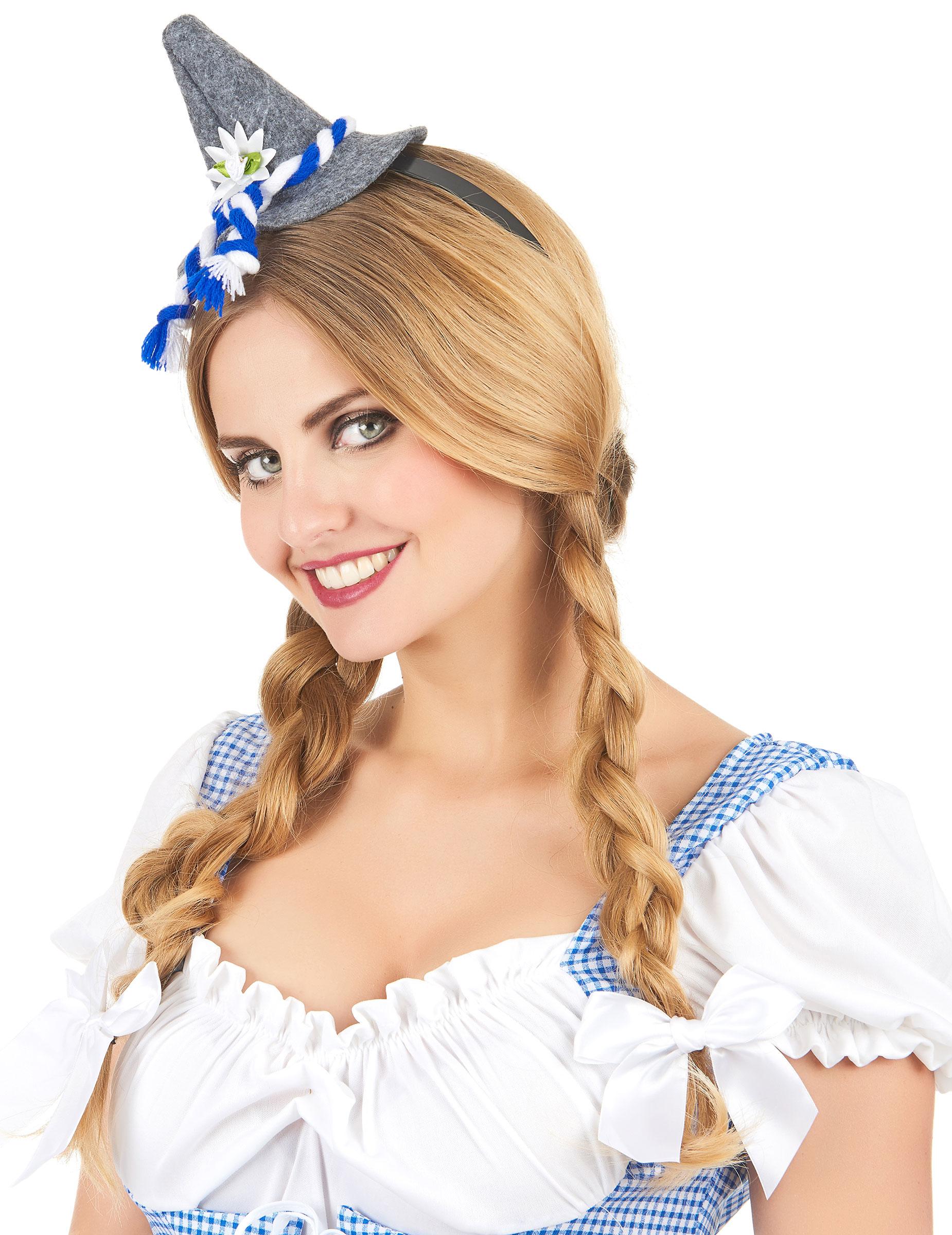 verschiedene Stile exklusives Sortiment Neuankömmlinge Mini Bayern-Hut mit Haarreif grau-blau-weiss