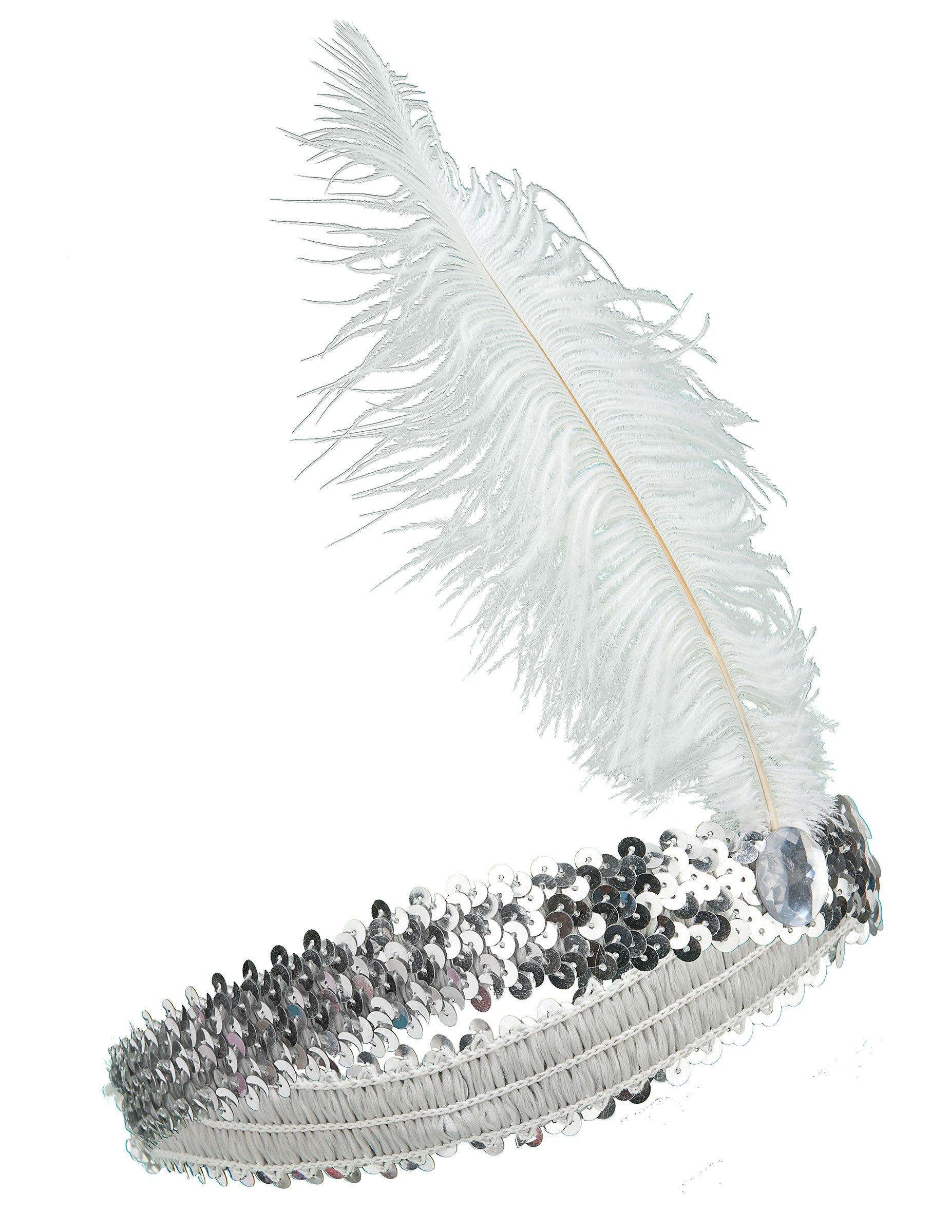20er jahre pailletten stirnband mit feder silber. Black Bedroom Furniture Sets. Home Design Ideas
