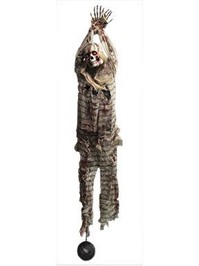 deko skelett gefangener zum aufh ngen mit leuchtenden augen grau beige rot 2 1m g nstige. Black Bedroom Furniture Sets. Home Design Ideas